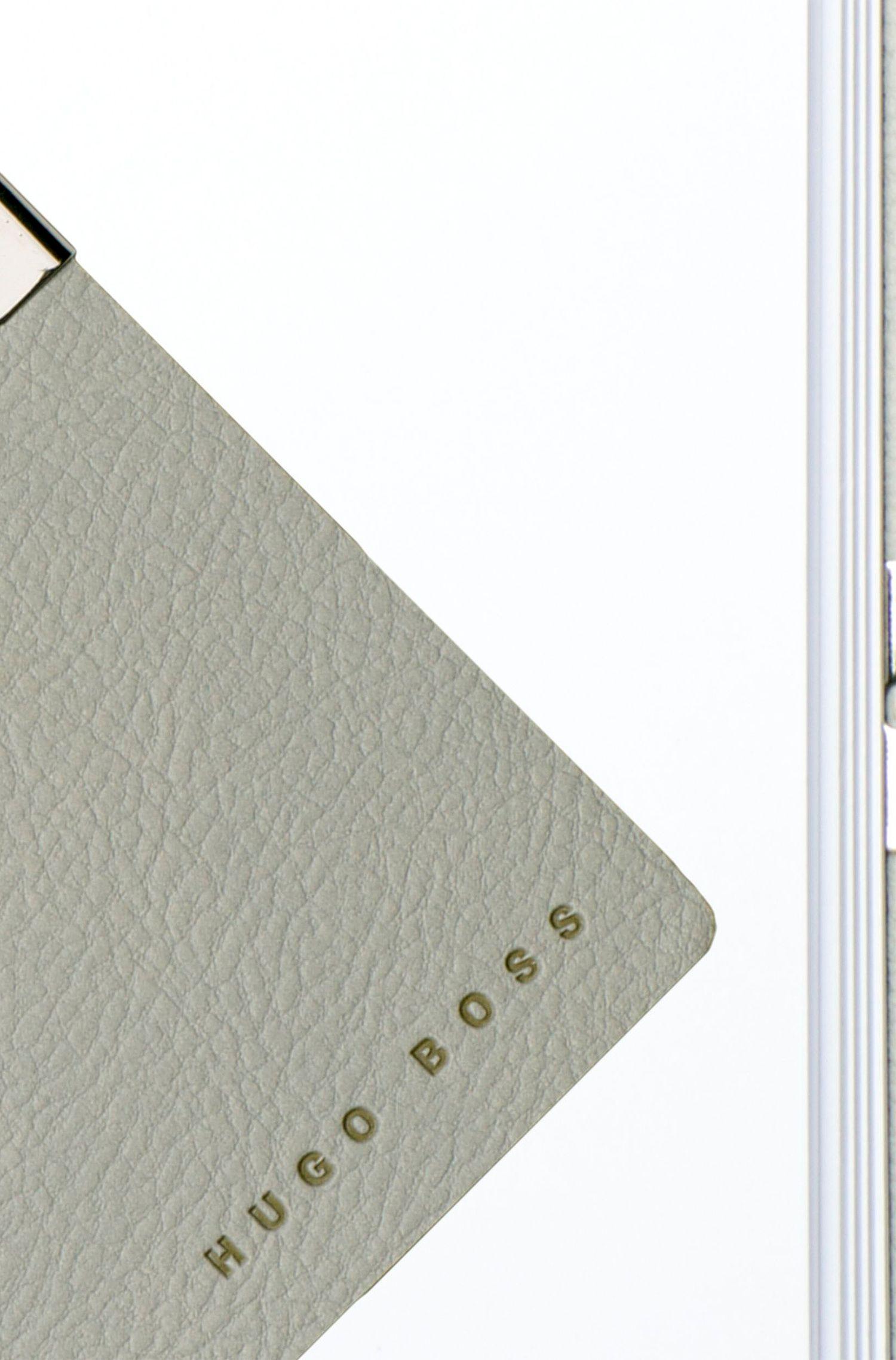 Carnet A6 en similicuir gris clair