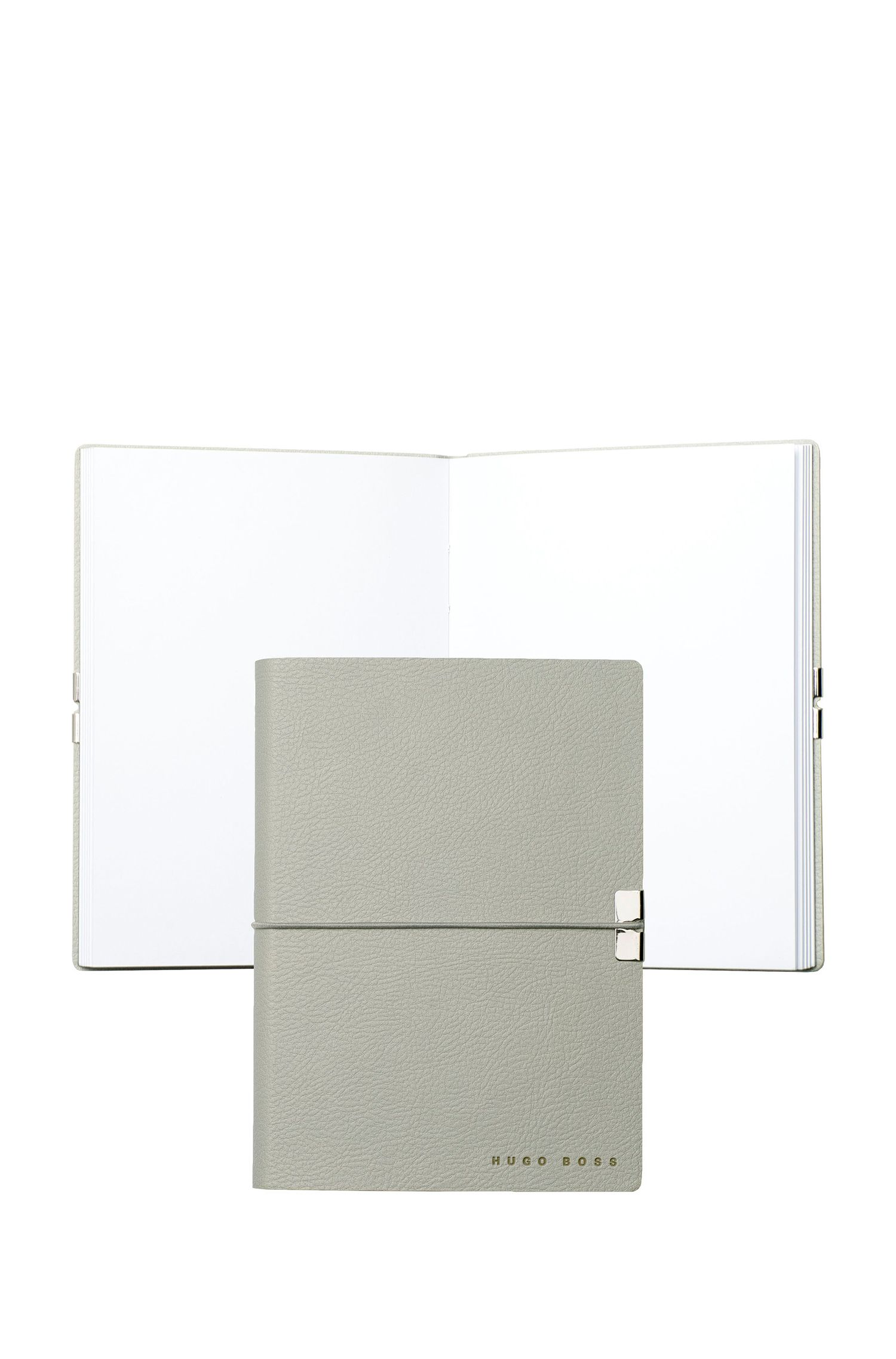 A6 light-grey faux leather notepad, Light Grey