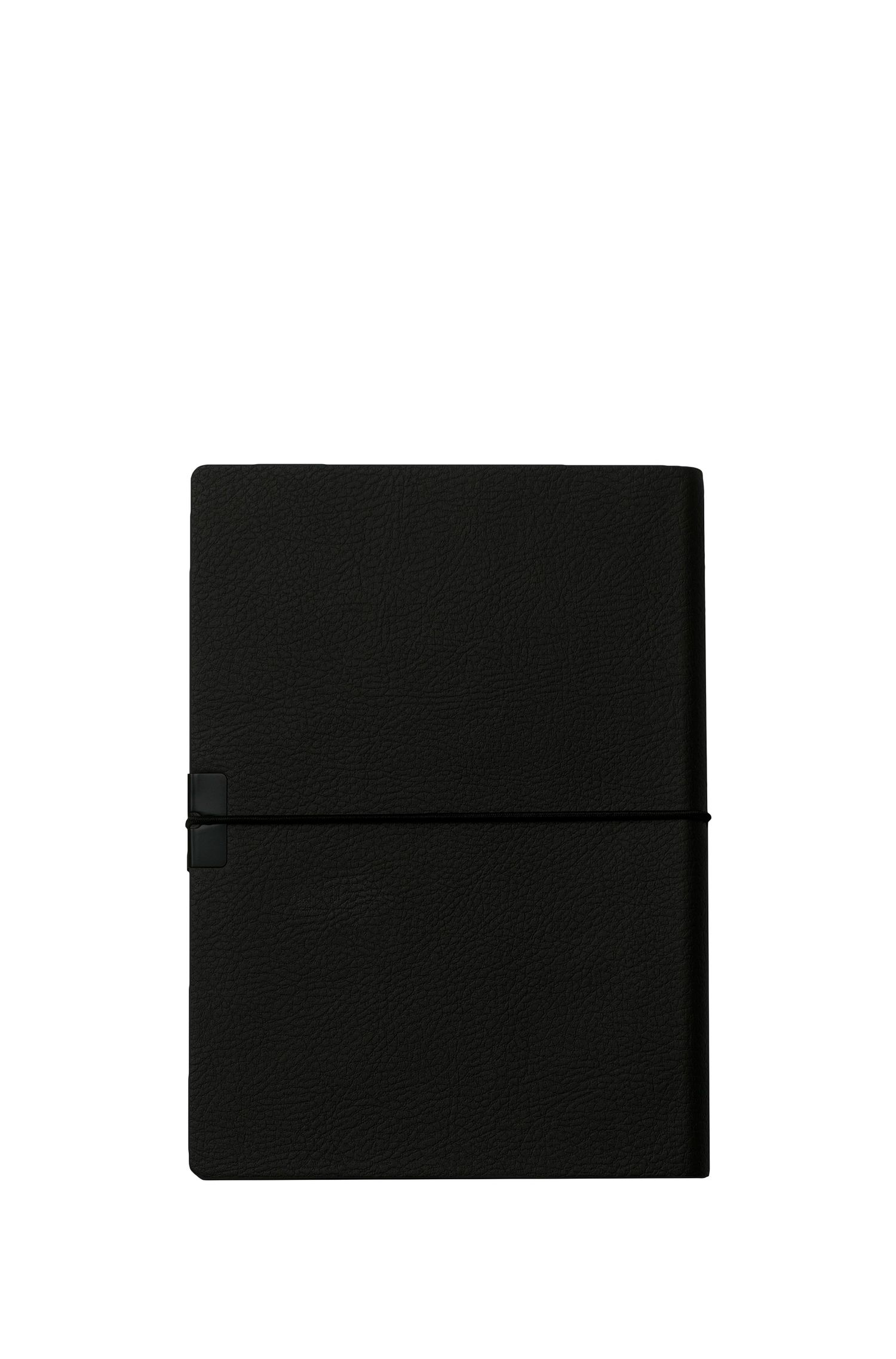 A6 black faux-leather notepad