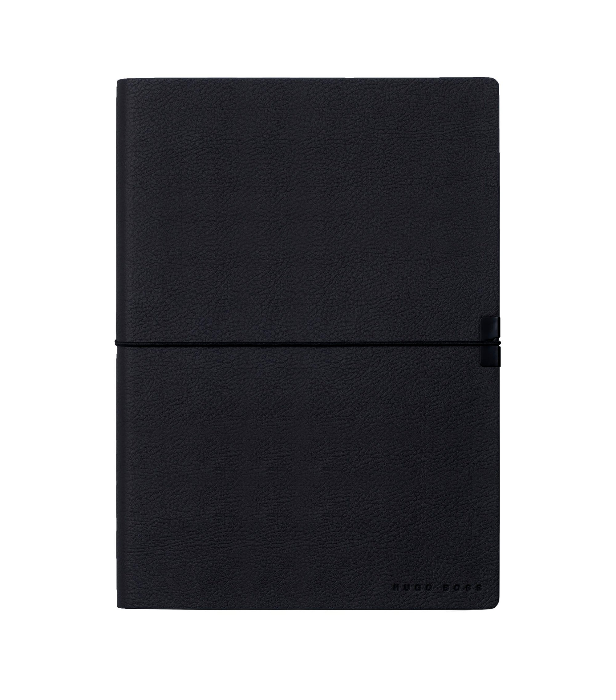 A5 notepad in dark-blue faux leather, Dark Blue