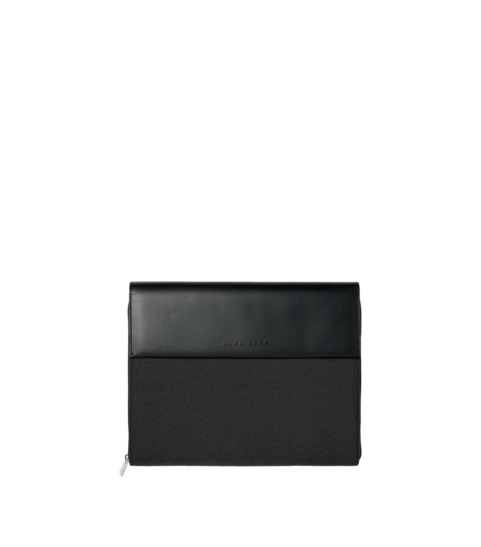 A4 ziparound folder in a technical fabric with faux-leather trims, Black