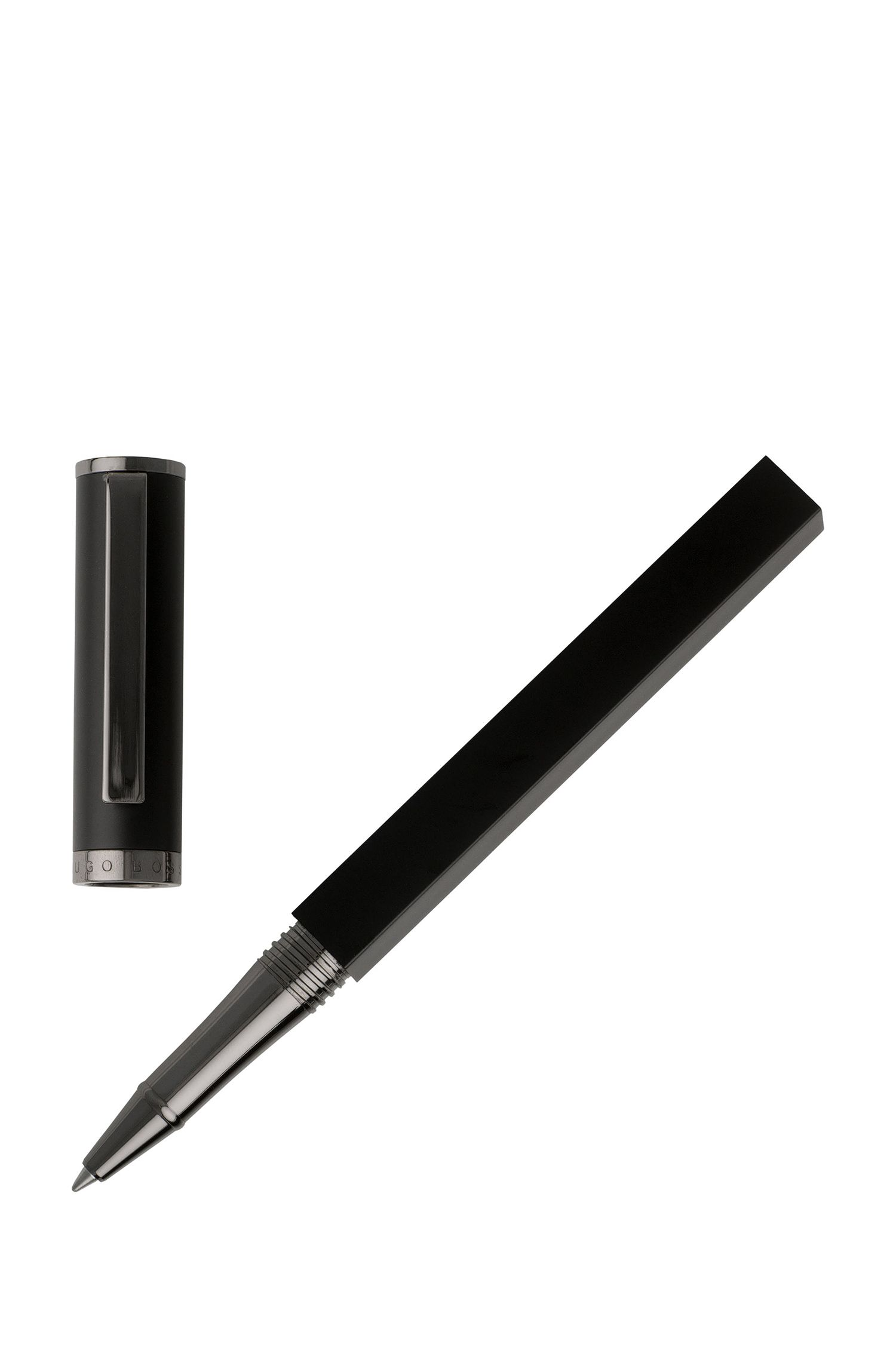 Dual-structure rollerball pen in matt black lacquer