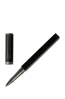 Dual-structure rollerball pen in matt black lacquer, Black