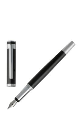 Füllfederhalter aus lackiertem Messing, Schwarz