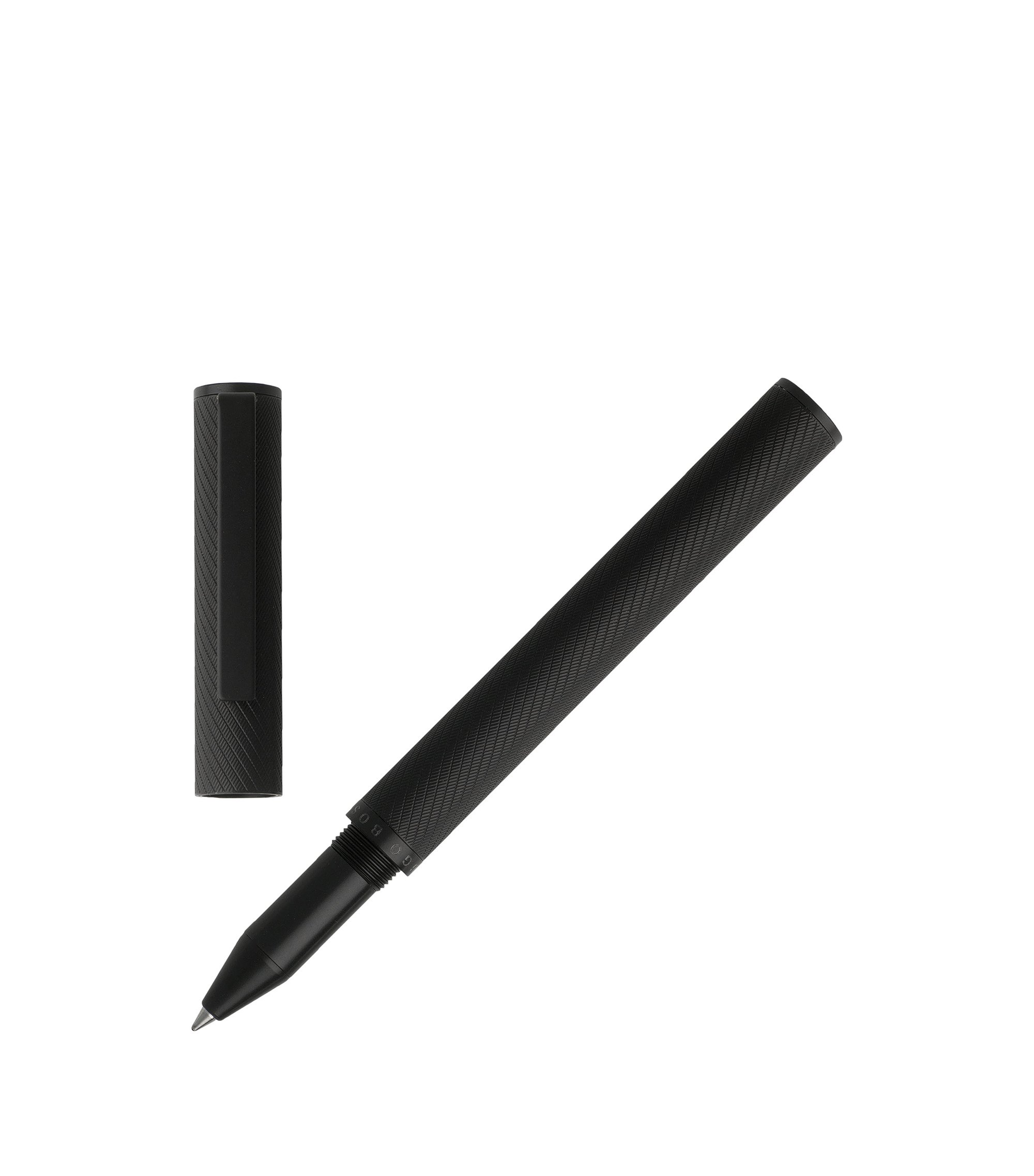 Rollerball pen with textured black-lacquer barrel, Black