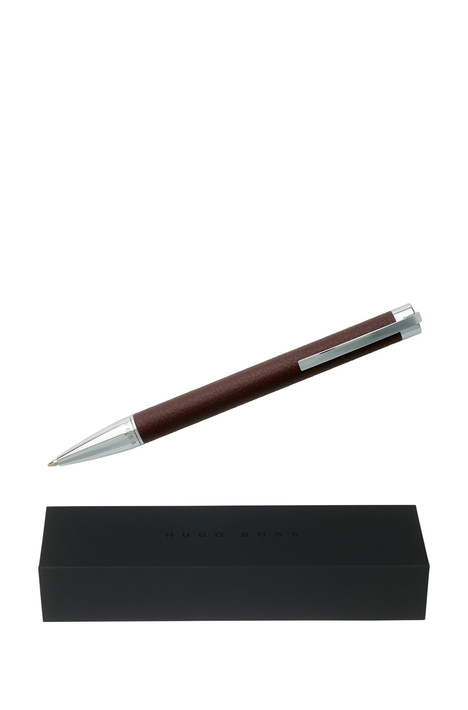 Ballpoint pen in burgundy faux leather