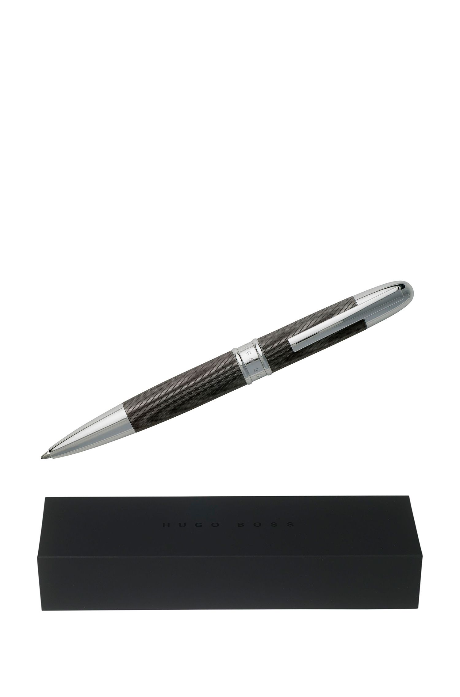 Ballpoint pen with dark-chrome plated technical crafted surface, Silver