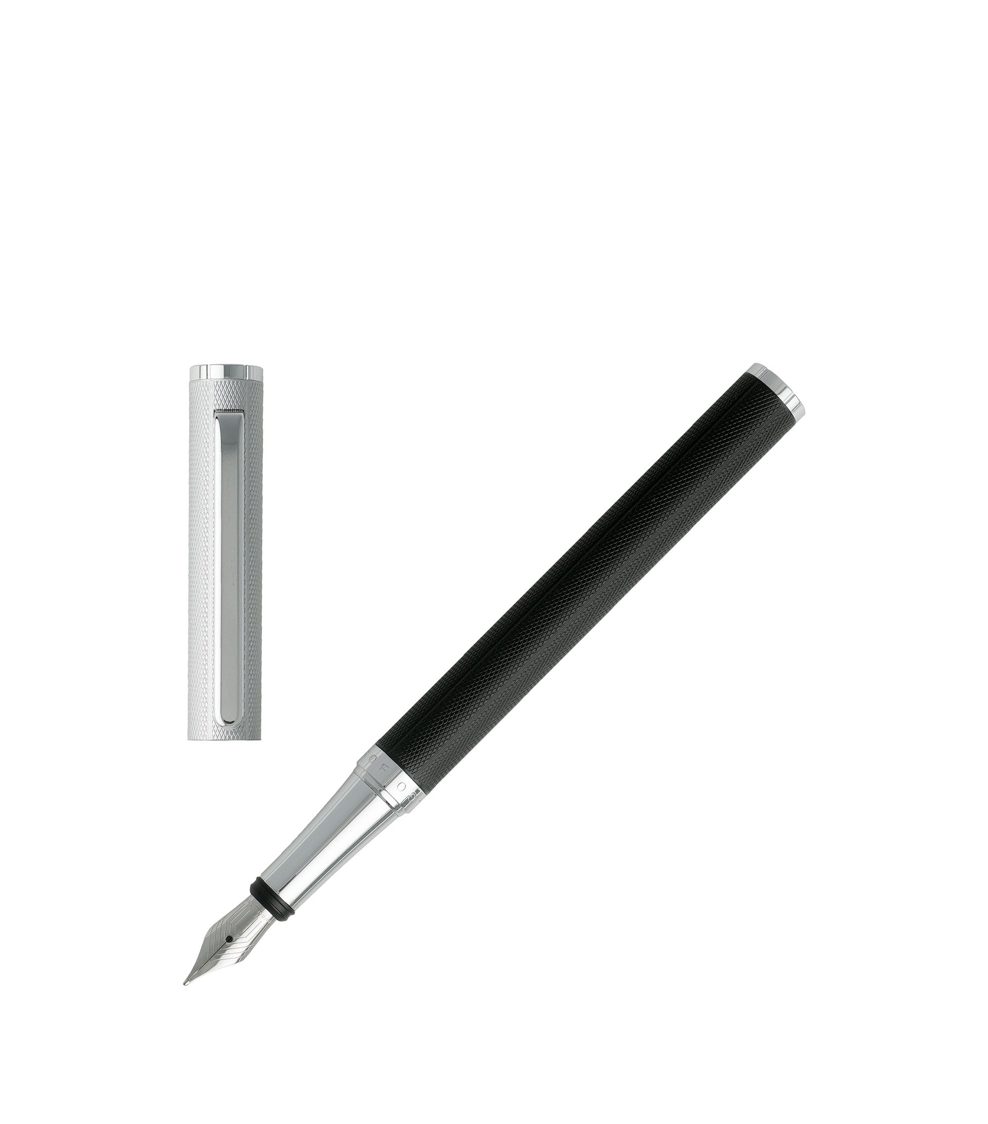 Fountain pen in diamond-textured black lacquer, Black
