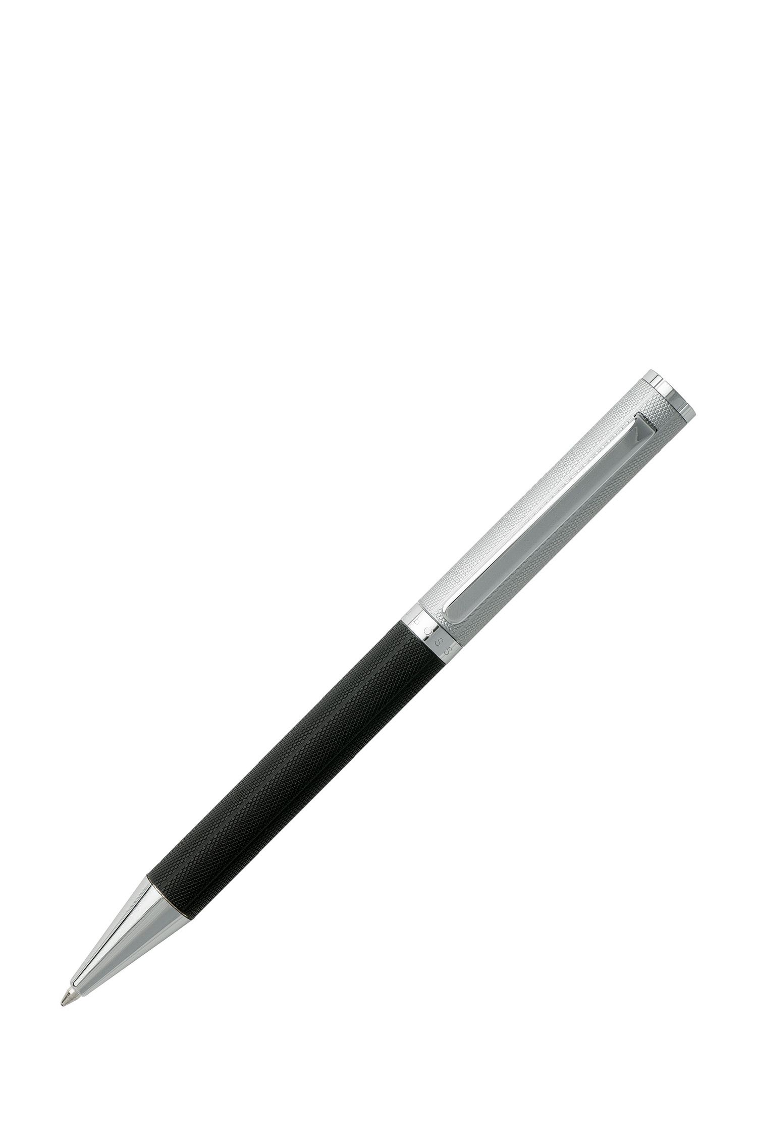 Ballpoint pen with two-tone diamond-patterned texture