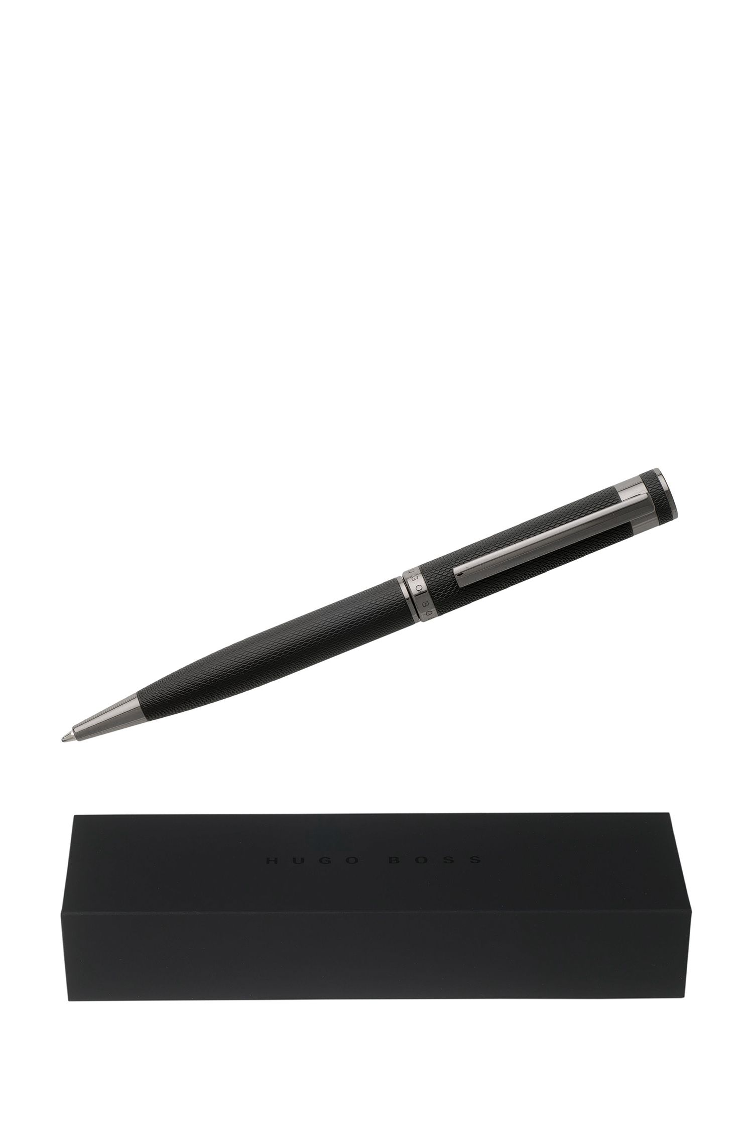 Ballpoint pen in structured black lacquer