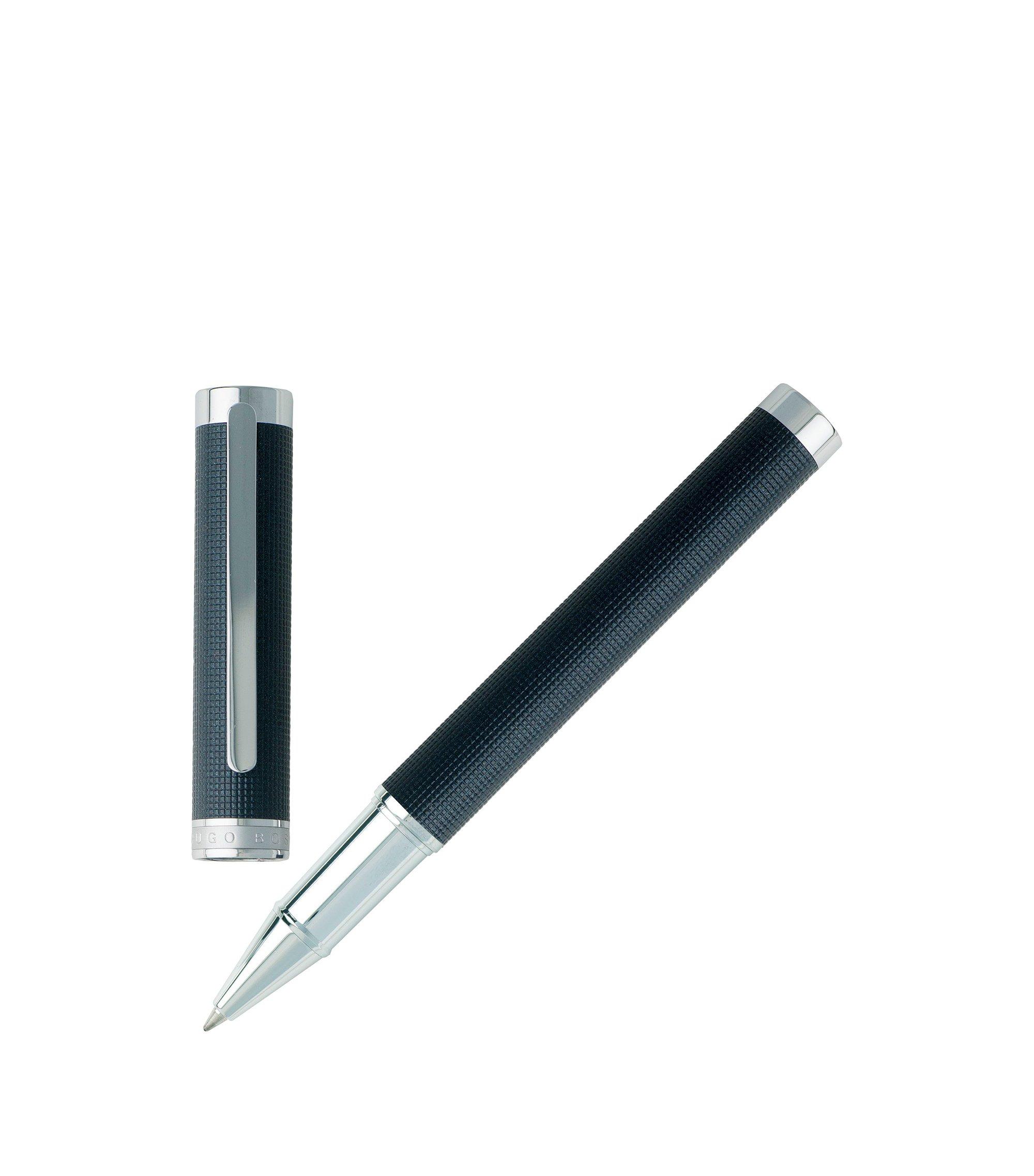 Rollerball pen in dark-blue textured chrome-plated brass, Silver