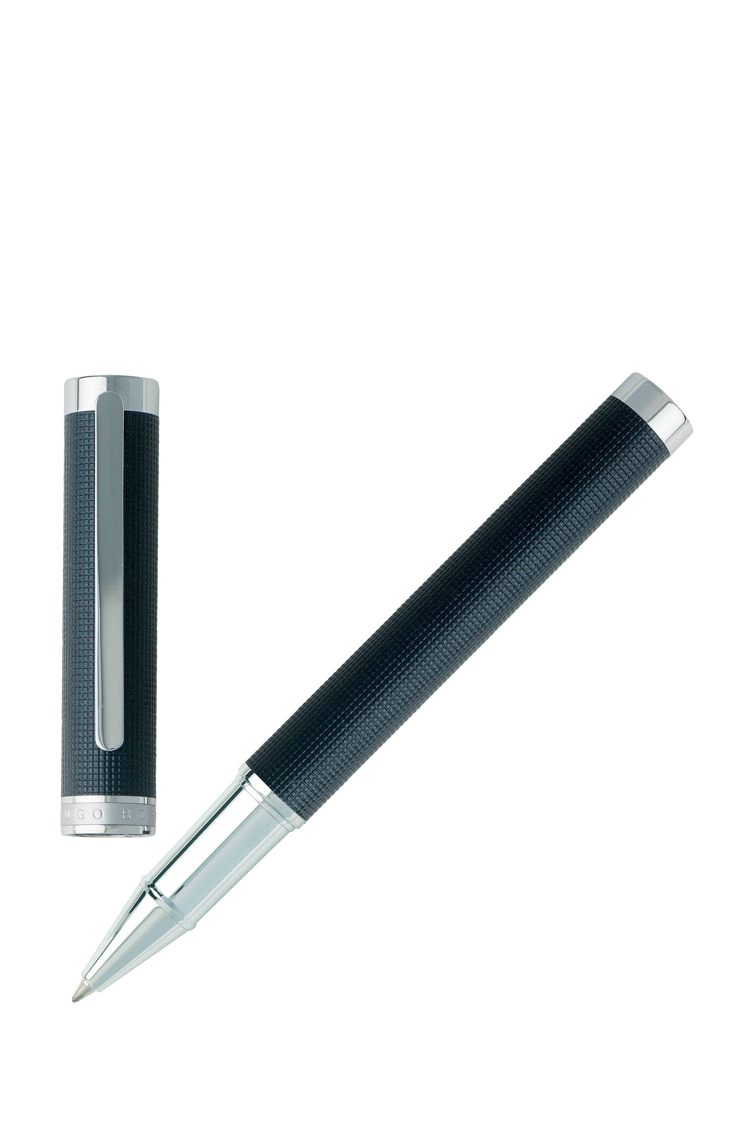 Rollerball pen in dark-blue textured chrome-plated brass