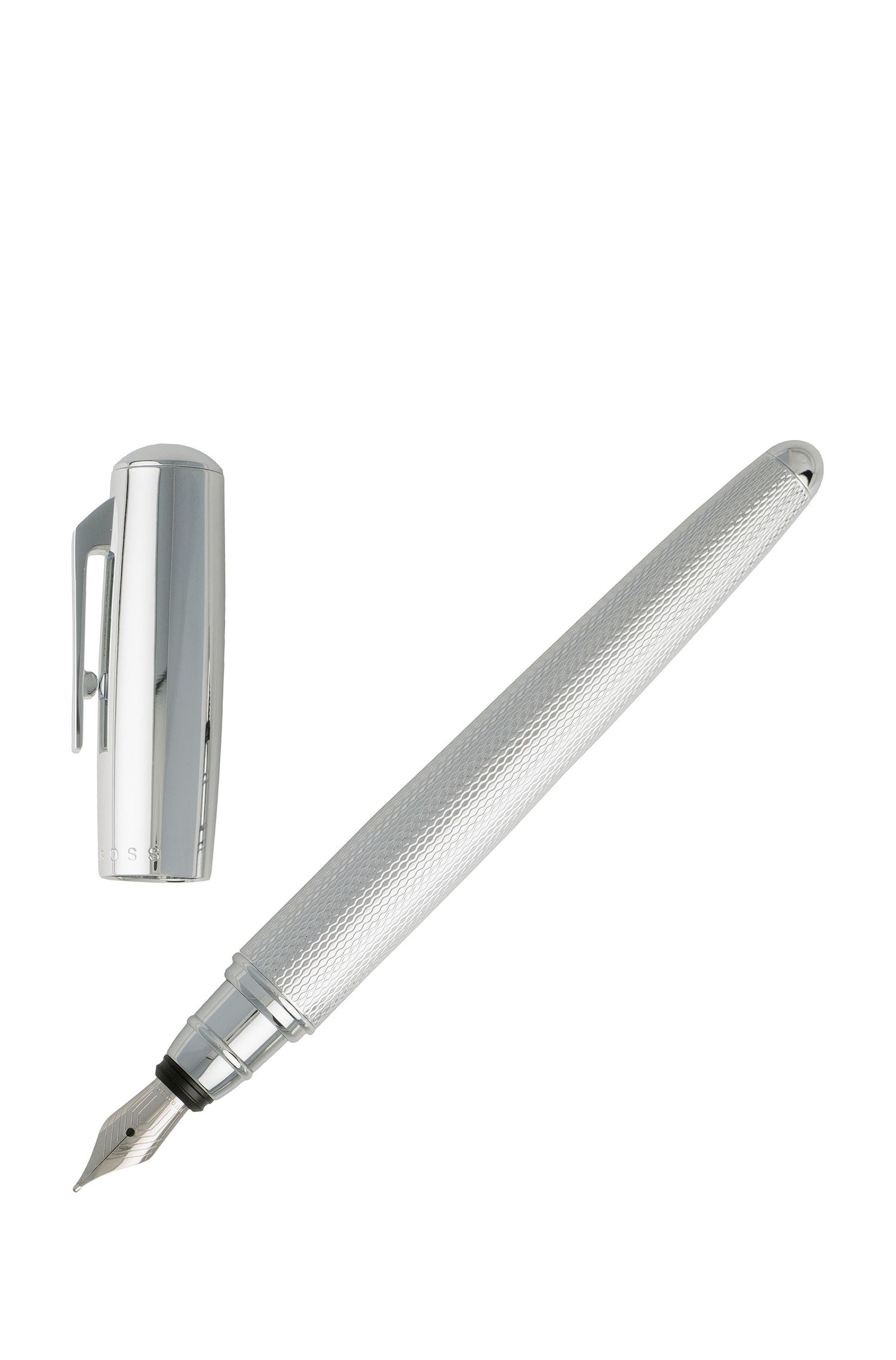 Fountain pen with textured chrome-plated barrel, Silver