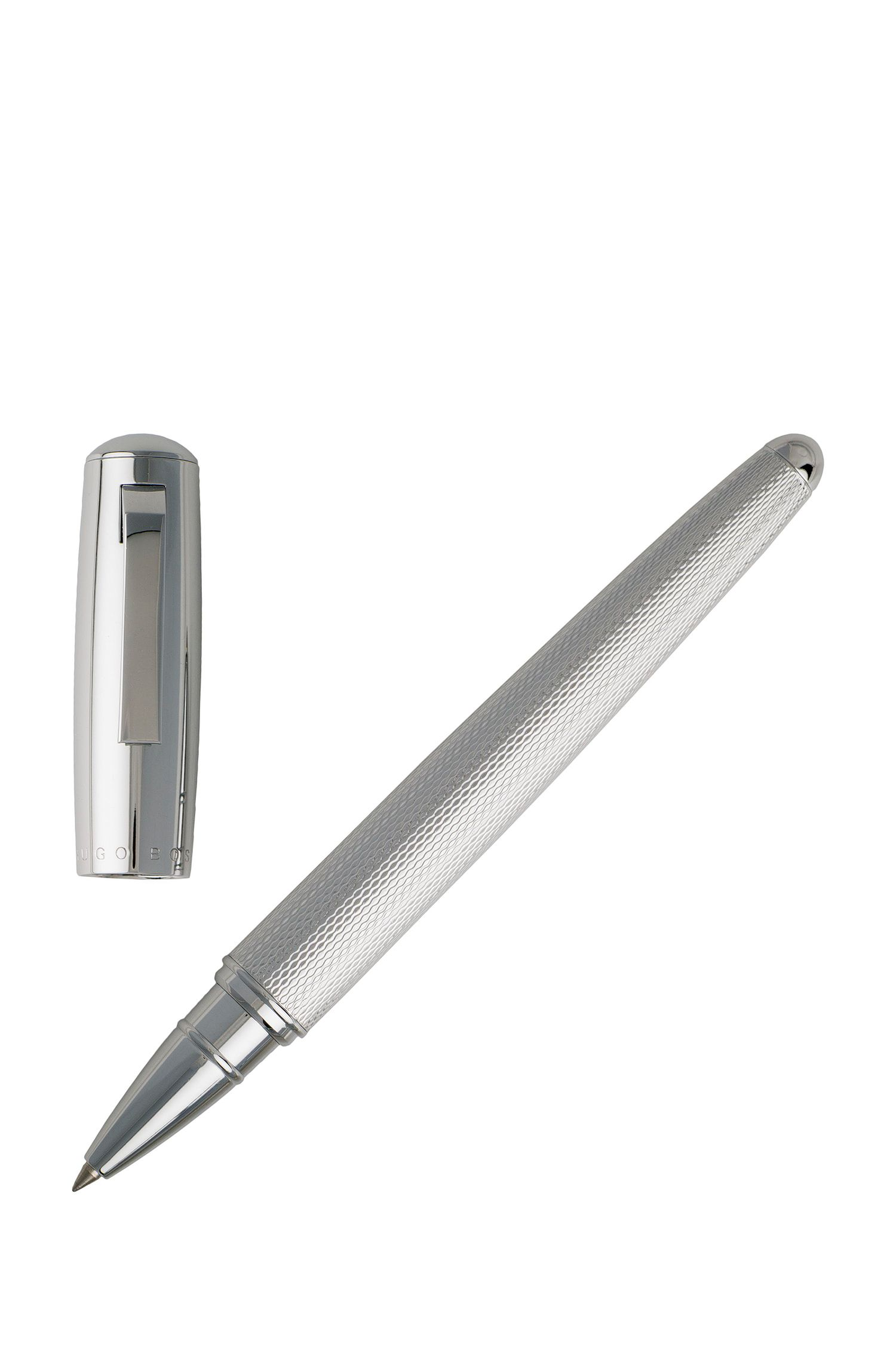 Chrome-plated rollerball pen with textured barrel