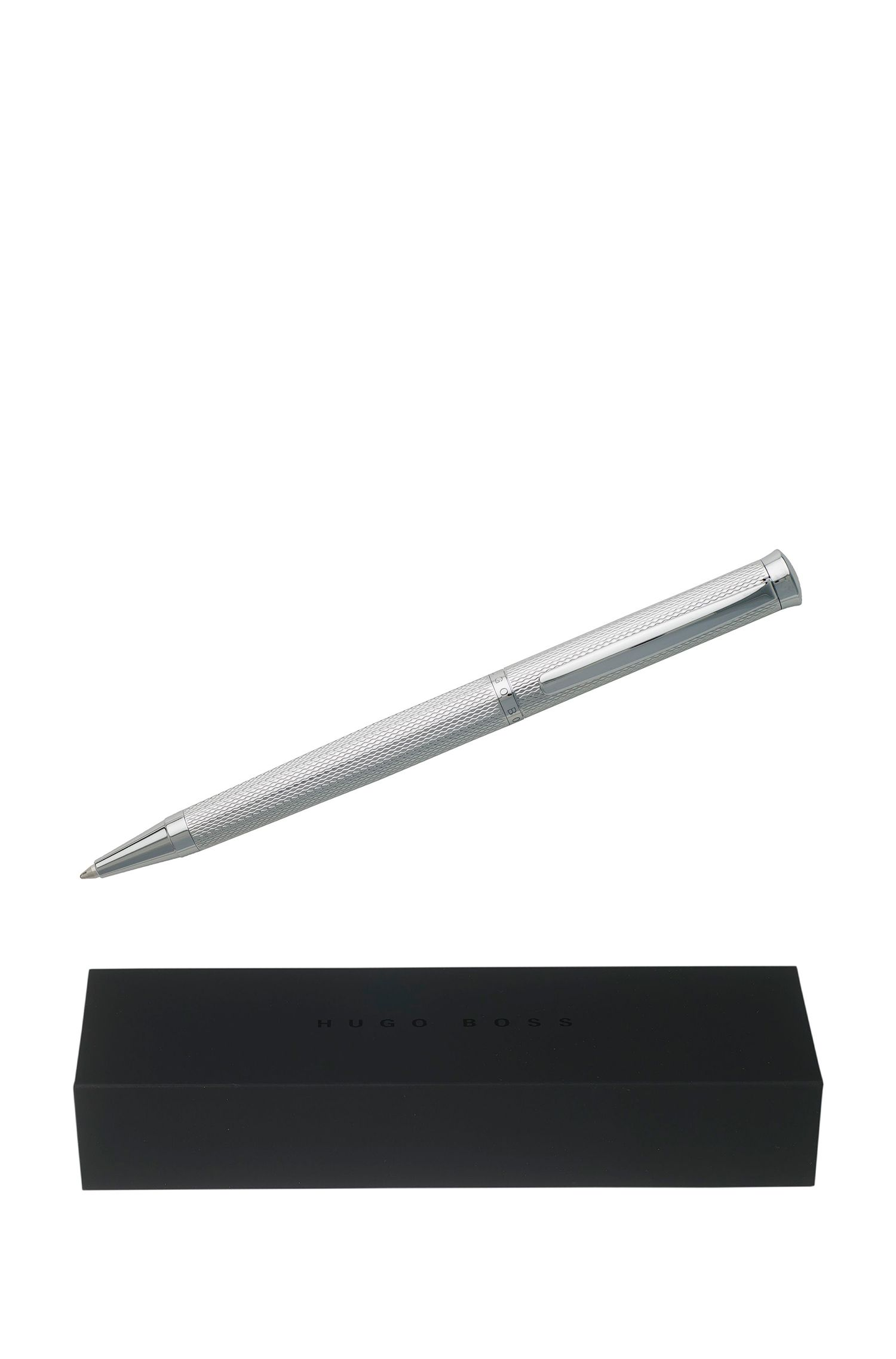Ballpoint pen with chrome-plated textured surface, Silver
