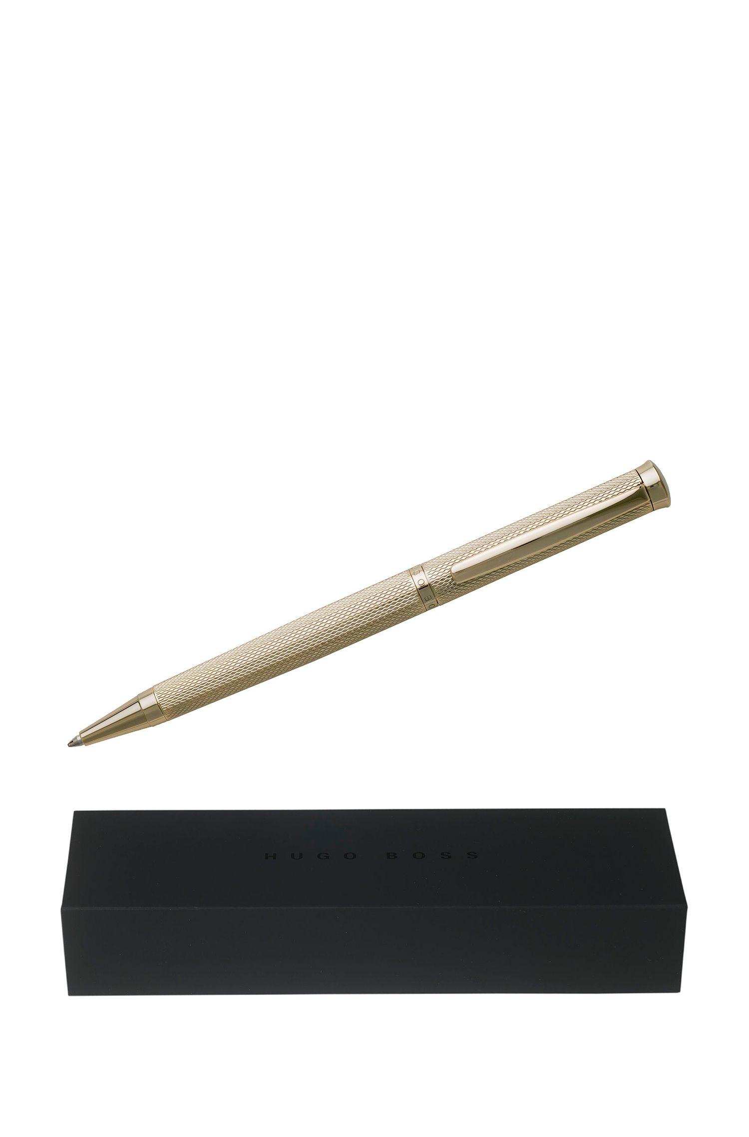 Kugelschreiber aus strukturiertem Messing mit goldfarbener Beschichtung