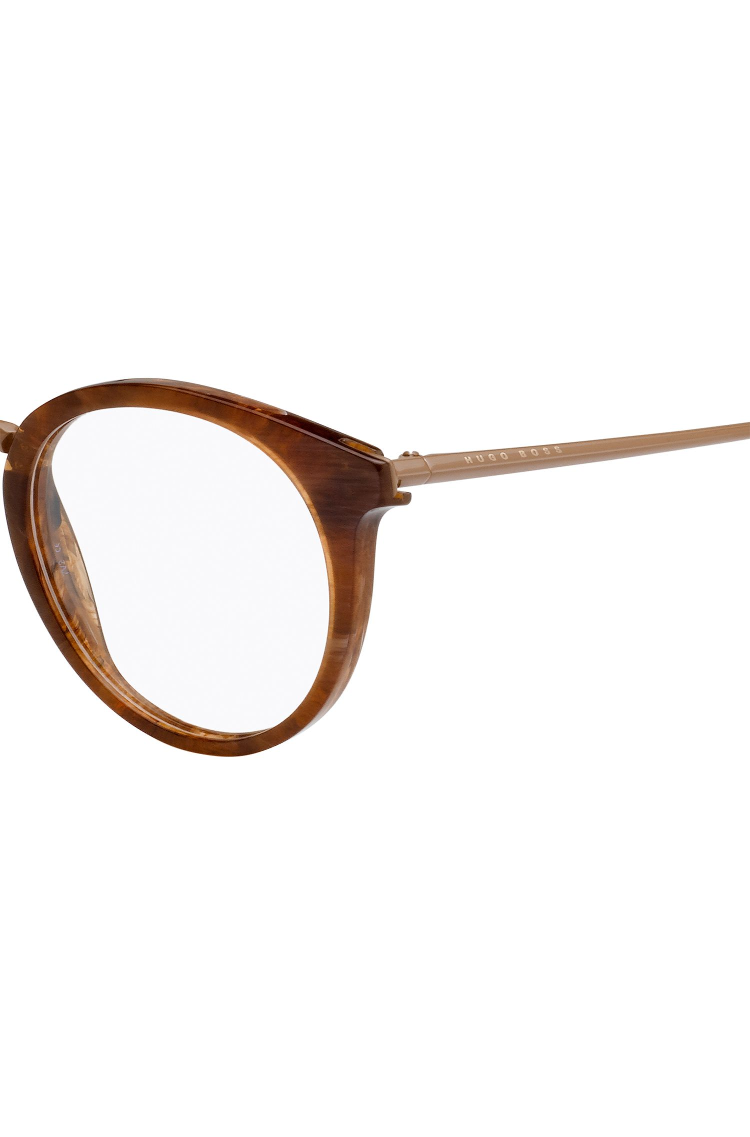 Clear-lens glasses with acetate frames