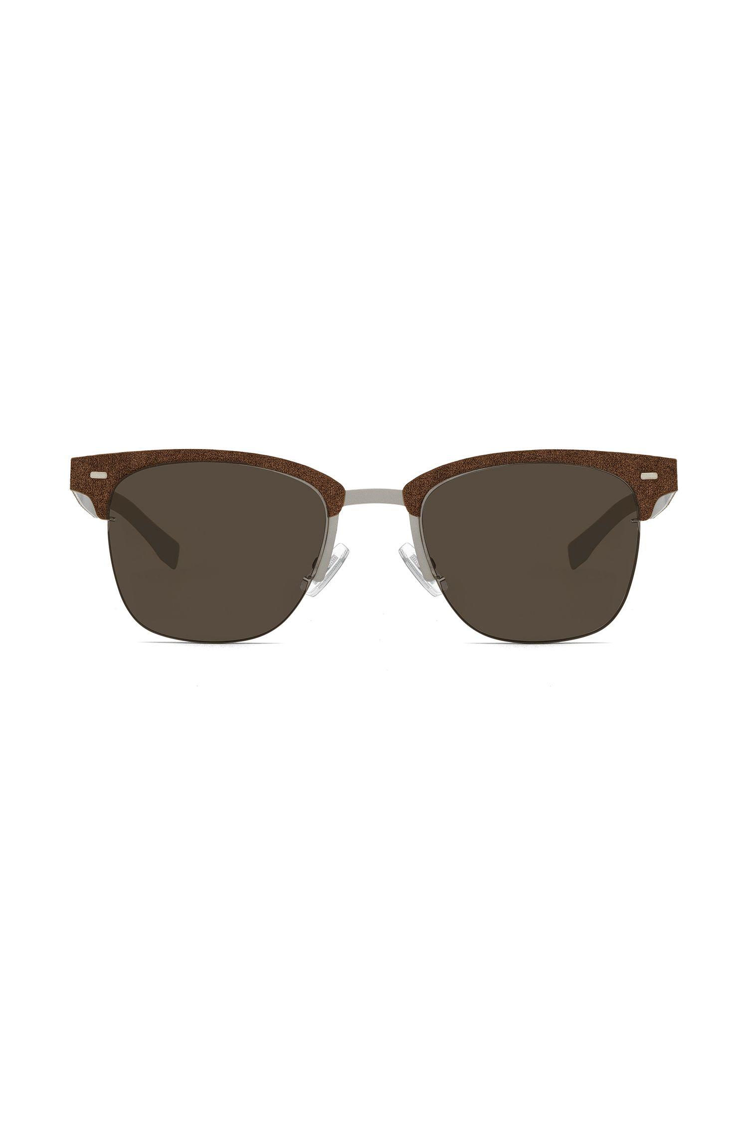 Gafas de sol ultraligeras con detalle alcántara, Marrón