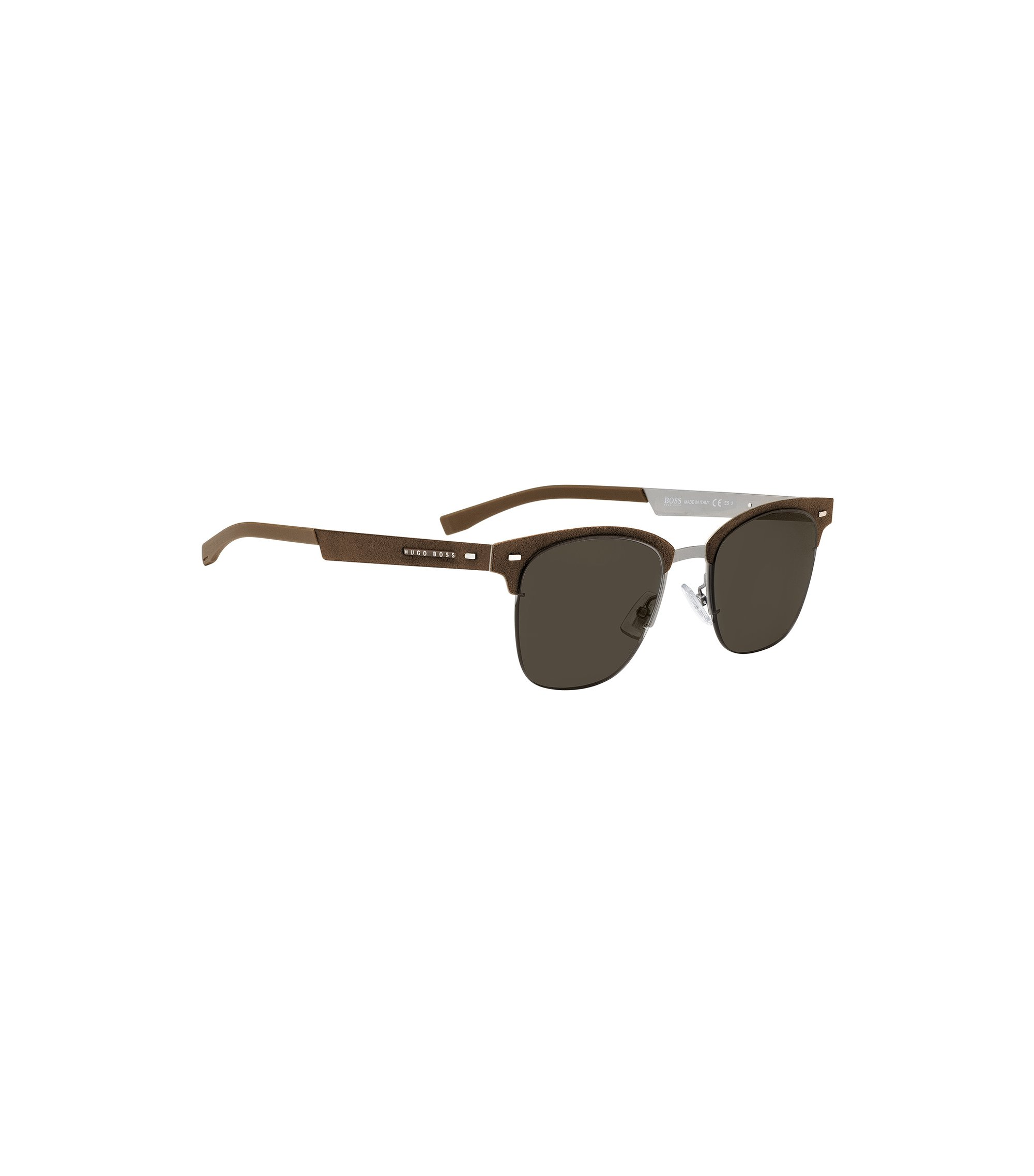 Ultra-light sunglasses with Alcantara detail, Brown