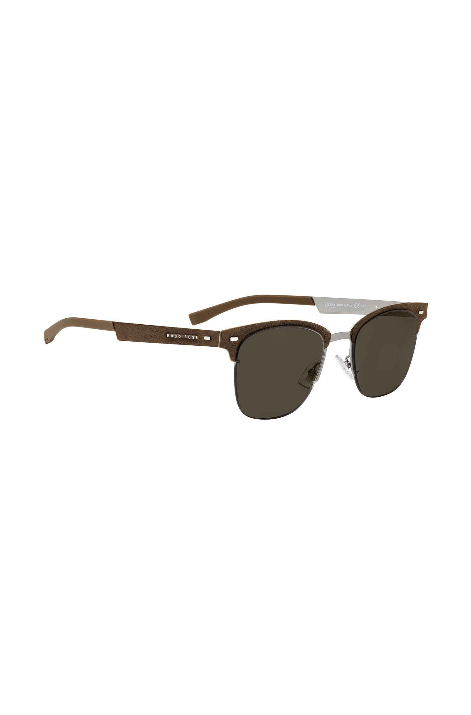 Sonnenbrille aus leichtem Metall mit Alcantara-Details