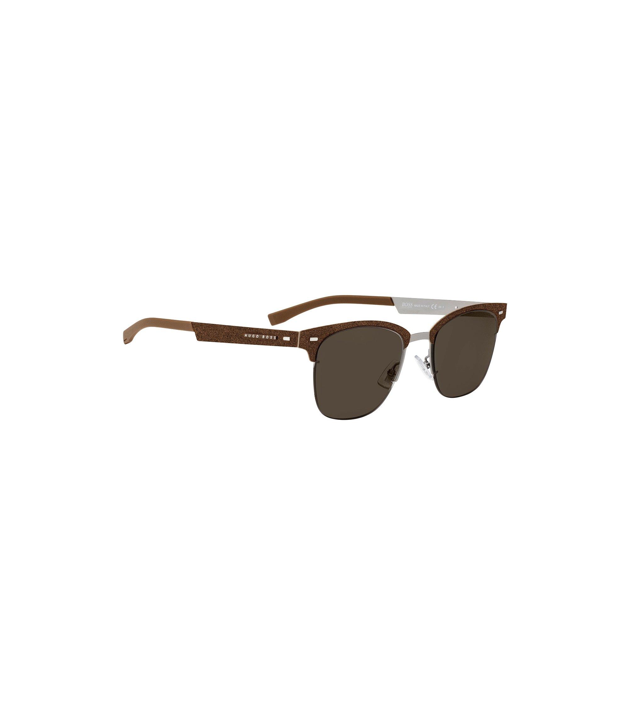 Sonnenbrille aus leichtem Metall mit Alcantara-Details, Braun