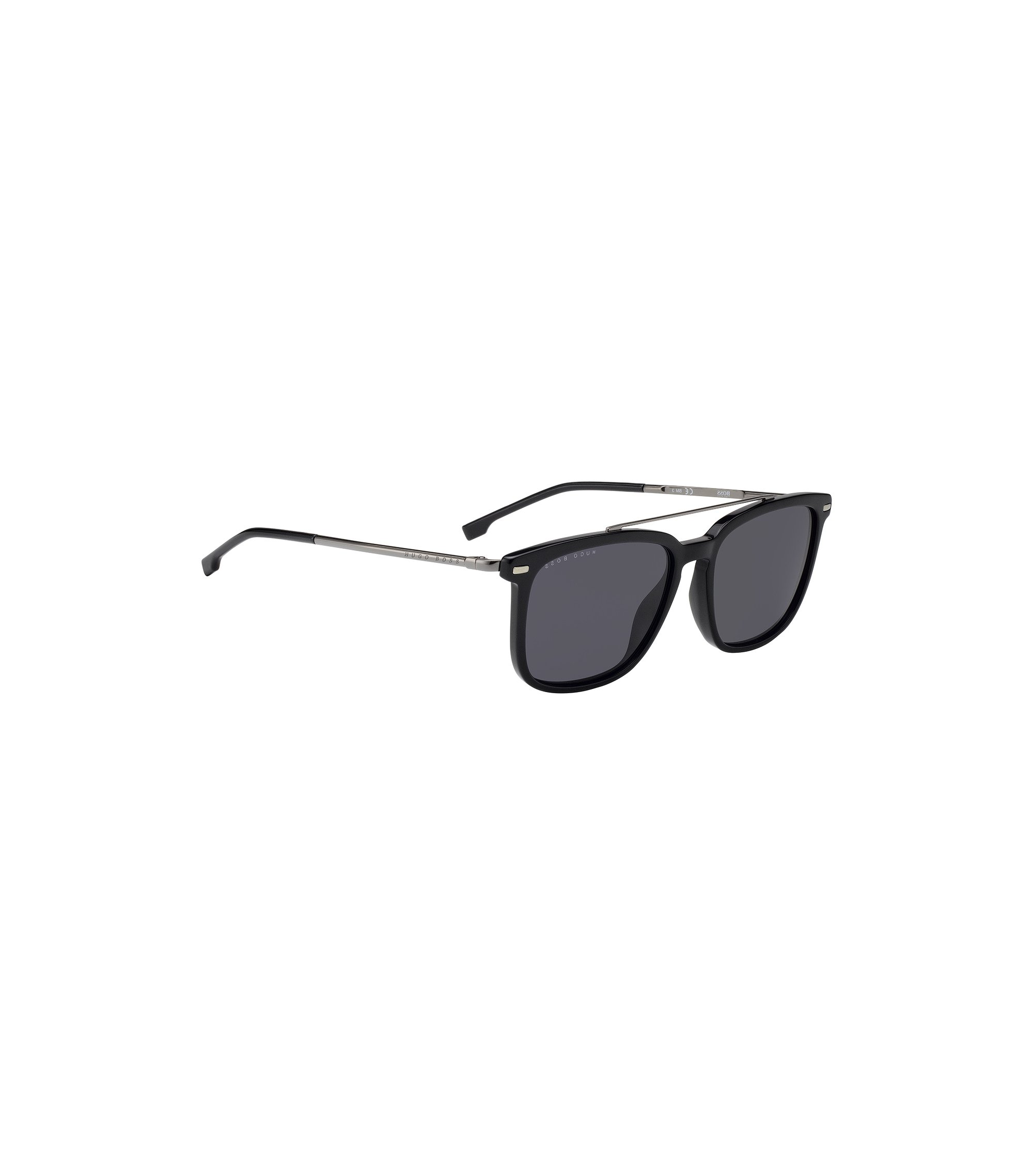 Ultralight sunglasses in metal and matte acetate, Black