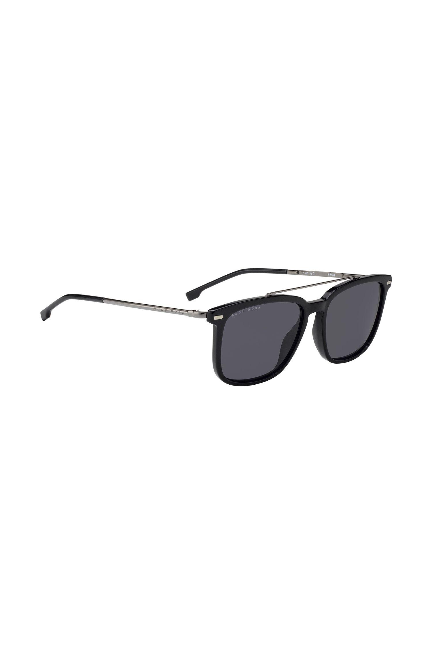 Sonnenbrille aus leichtem Metall und mattem Acetat, Schwarz