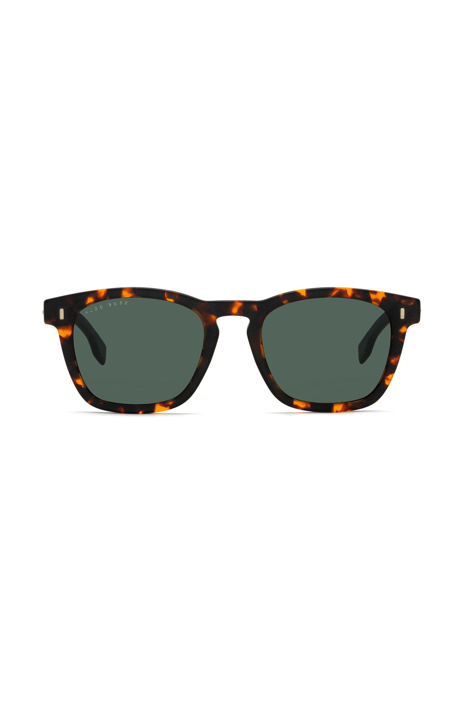 Sonnenbrille im Wayfarer-Stil aus Acetat mit Havanna-Muster, Gemustert