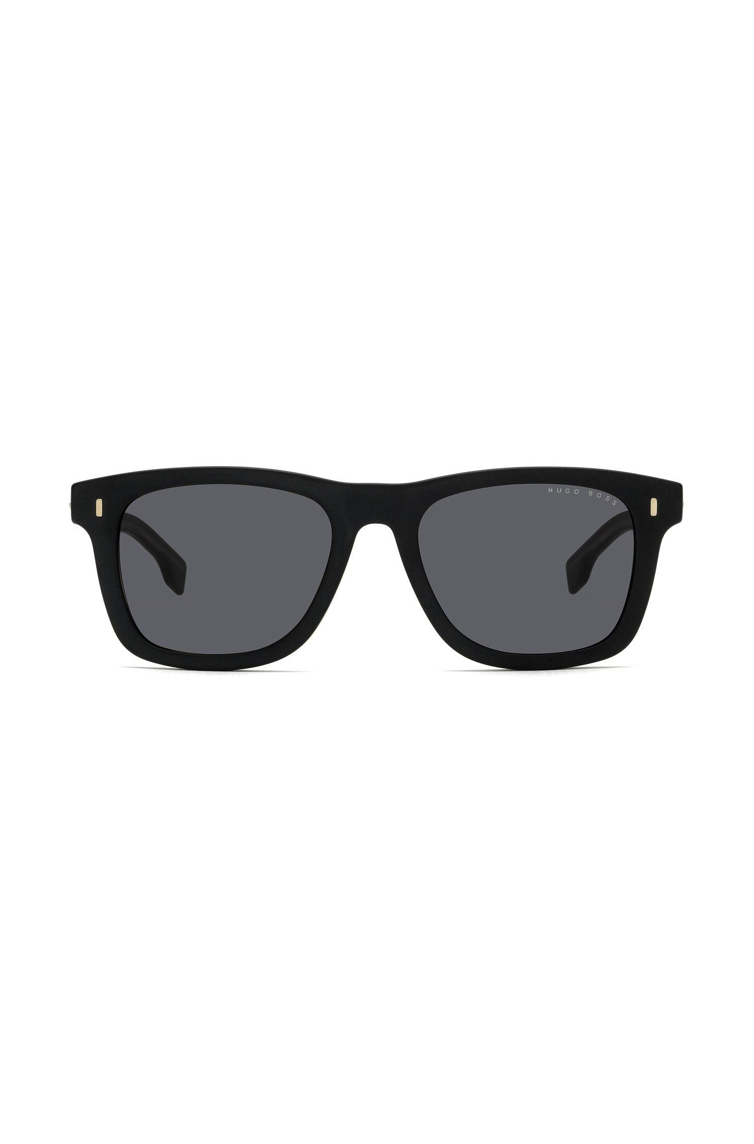 Sonnenbrille aus robustem Acetat im Wayfarer-Stil, Schwarz