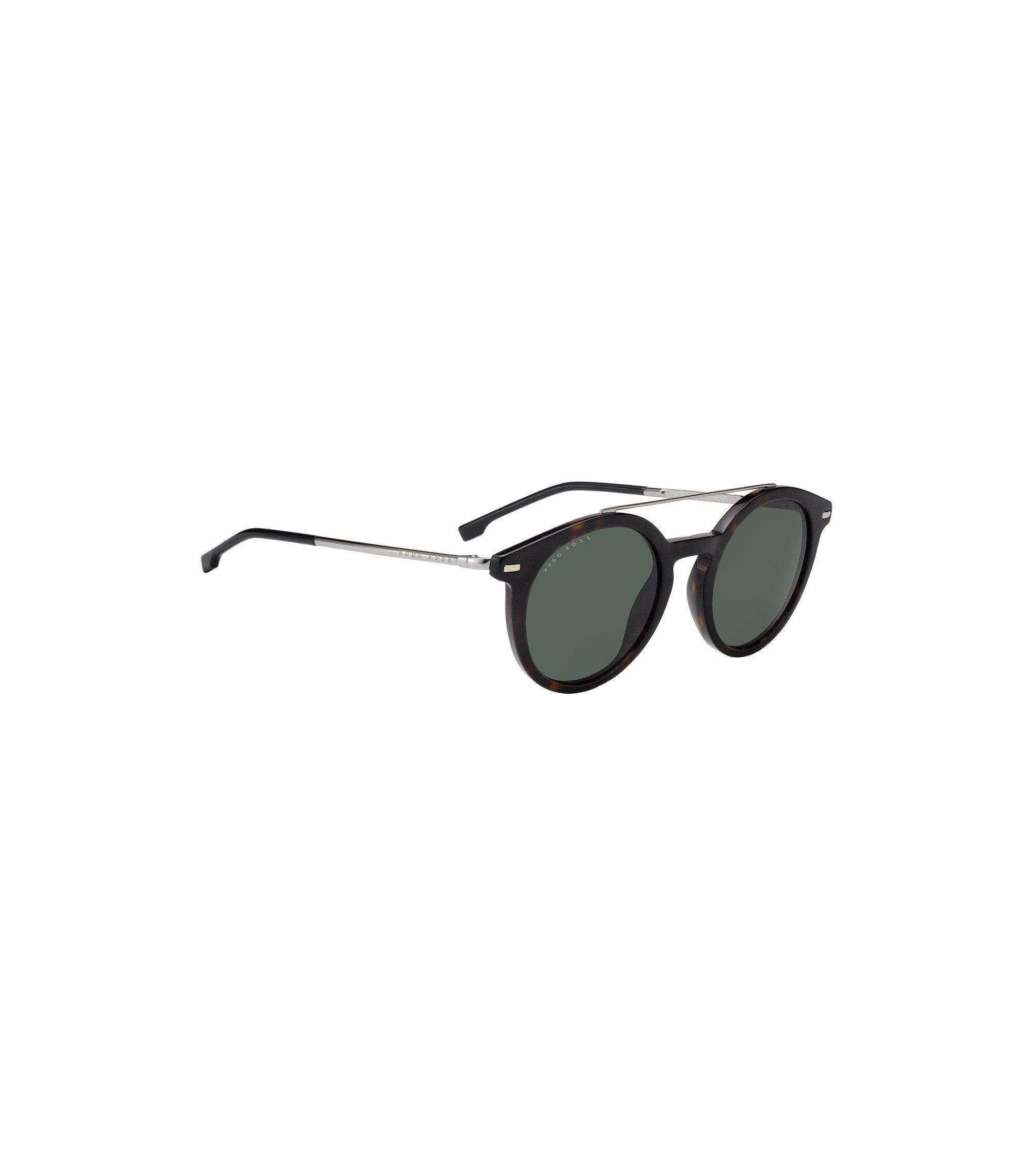Sonnenbrille mit runder Fassung aus Metall und Acetat, Dunkelbraun