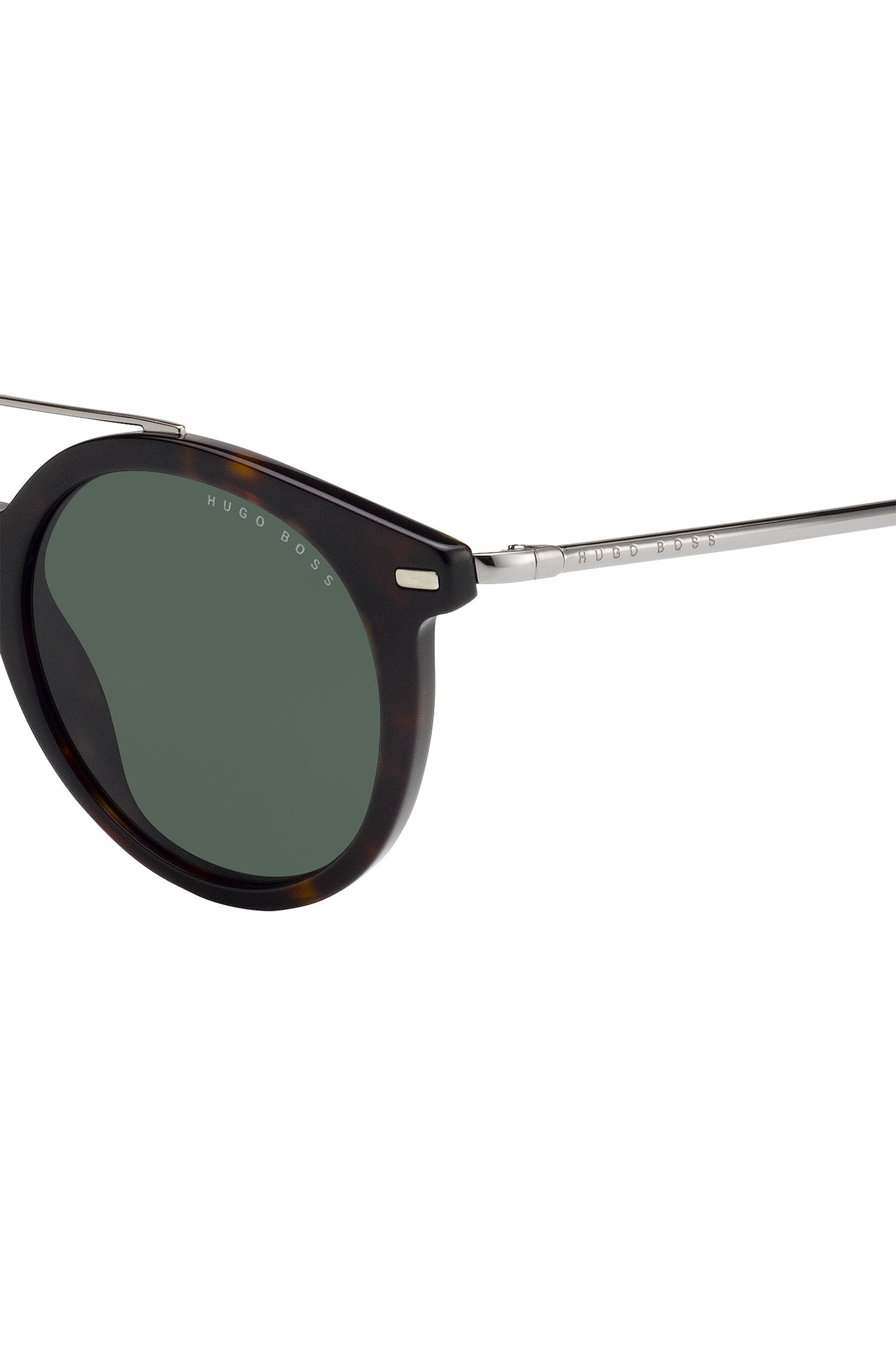 Round-framed sunglasses in metal and acetate, Dark Brown