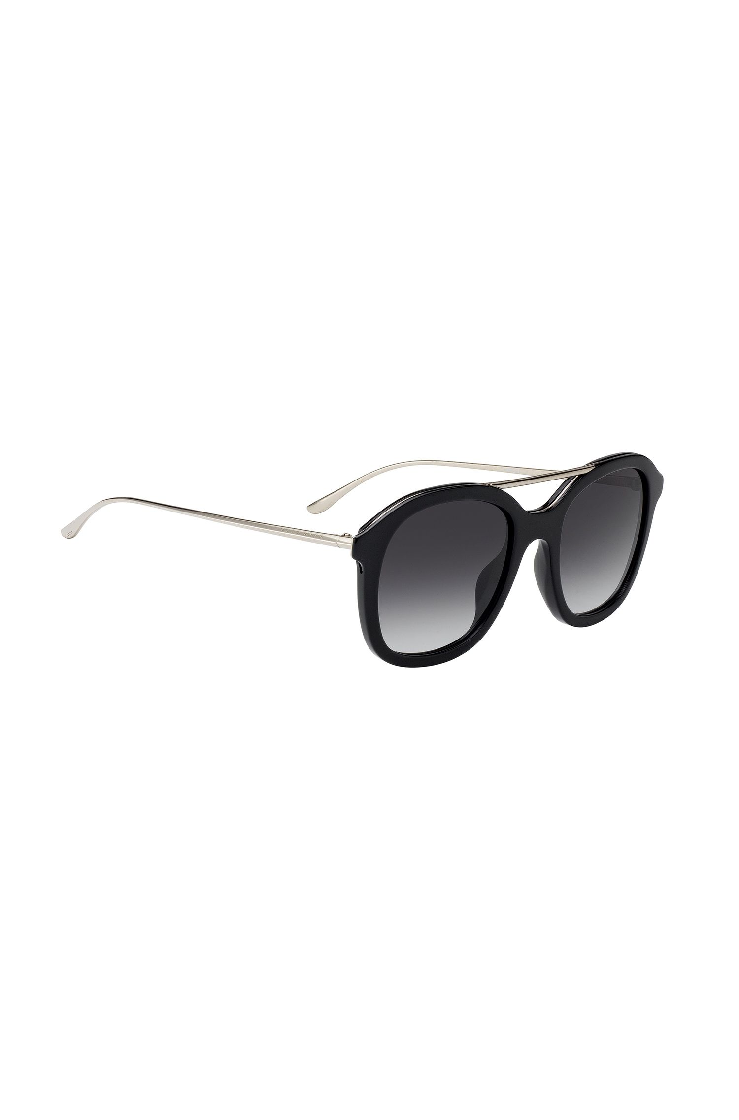 Acetate sunglasses with double bridge, Black
