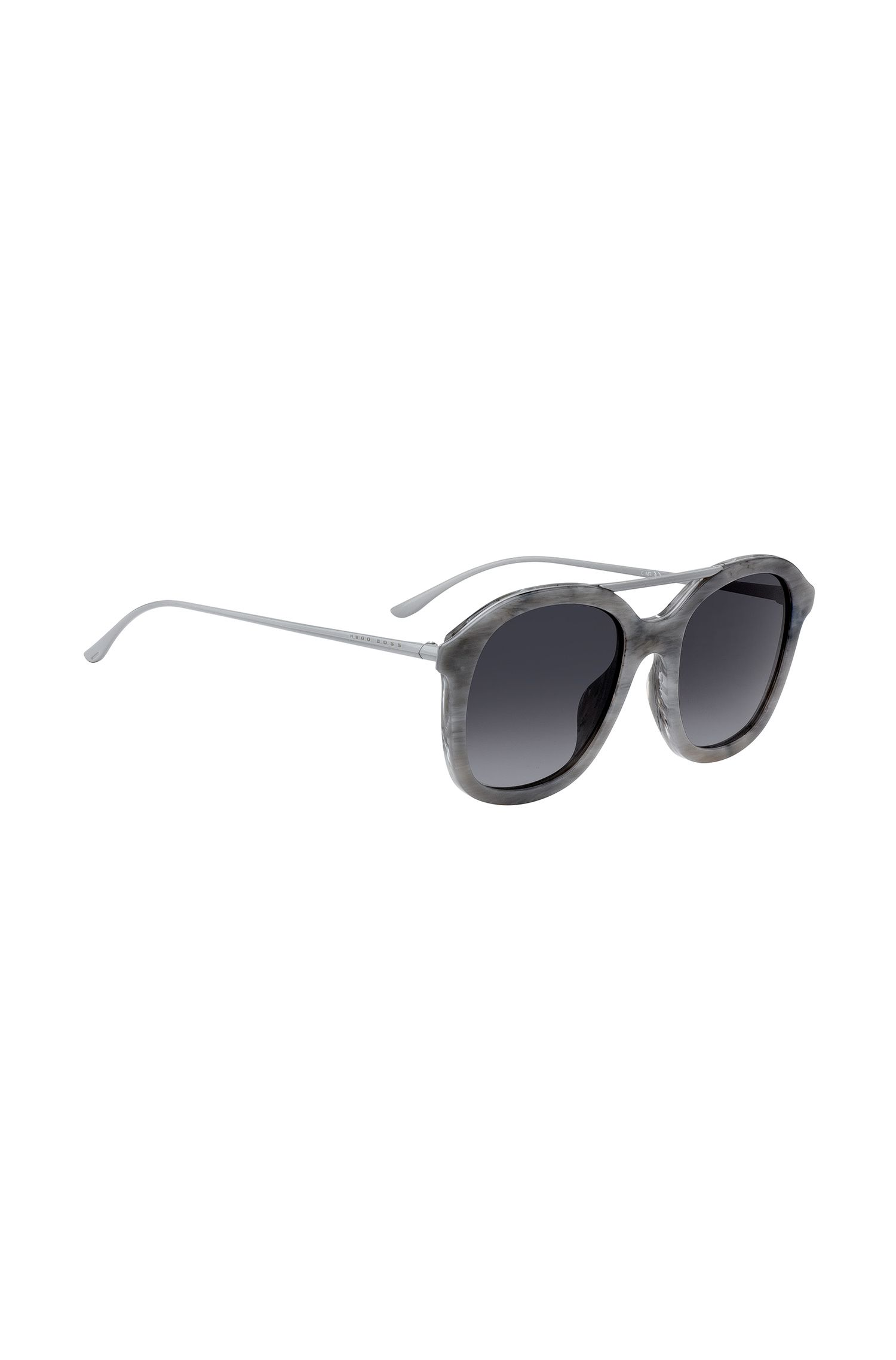 Acetate sunglasses with grey patterned frames, Grey