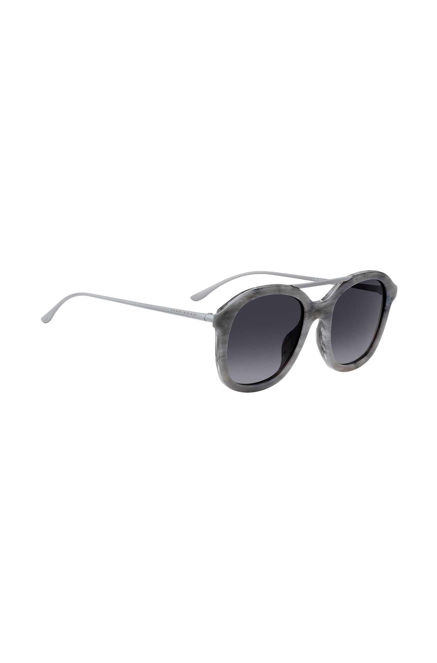Sonnenbrille mit gemusterter Acetat-Fassung