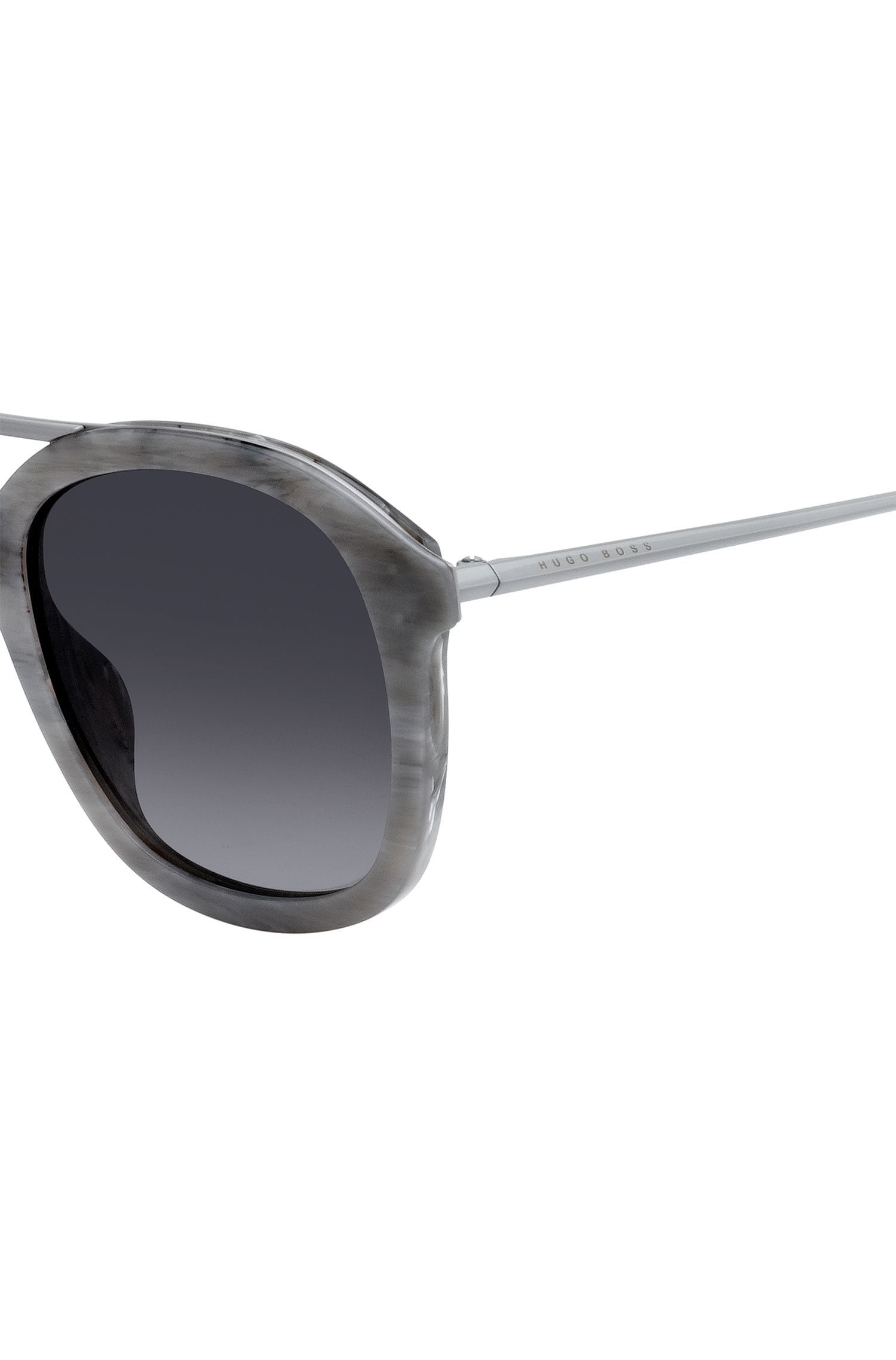 Acetate sunglasses with grey patterned frames