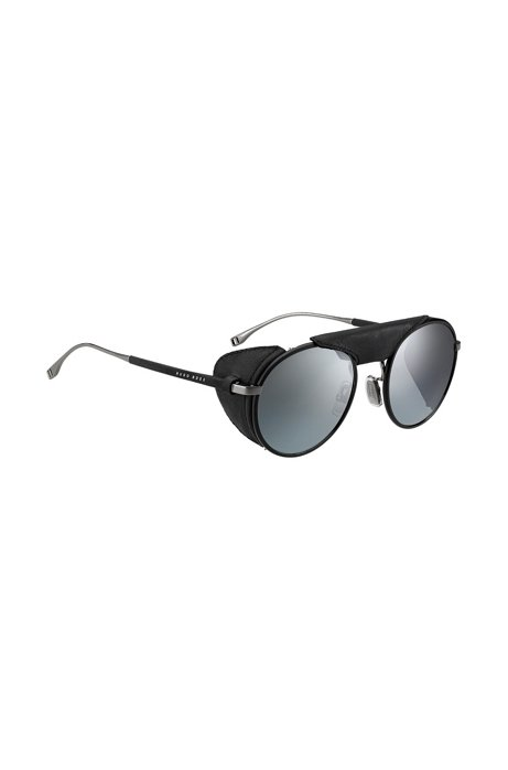 Panto sunglasses with removable leather shields, Black