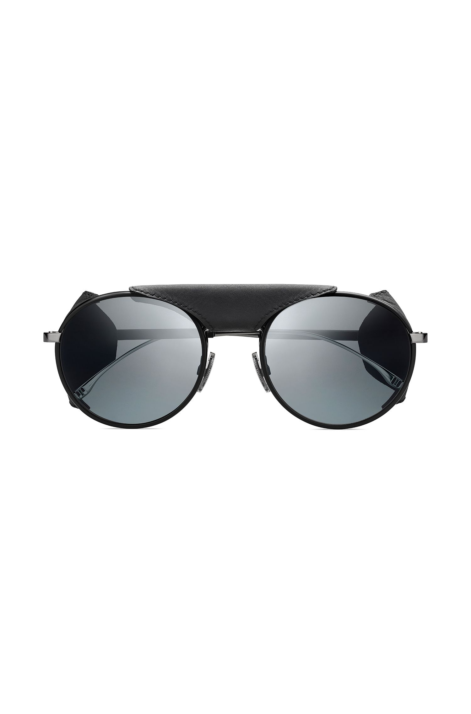 Panto sunglasses with removable leather shields