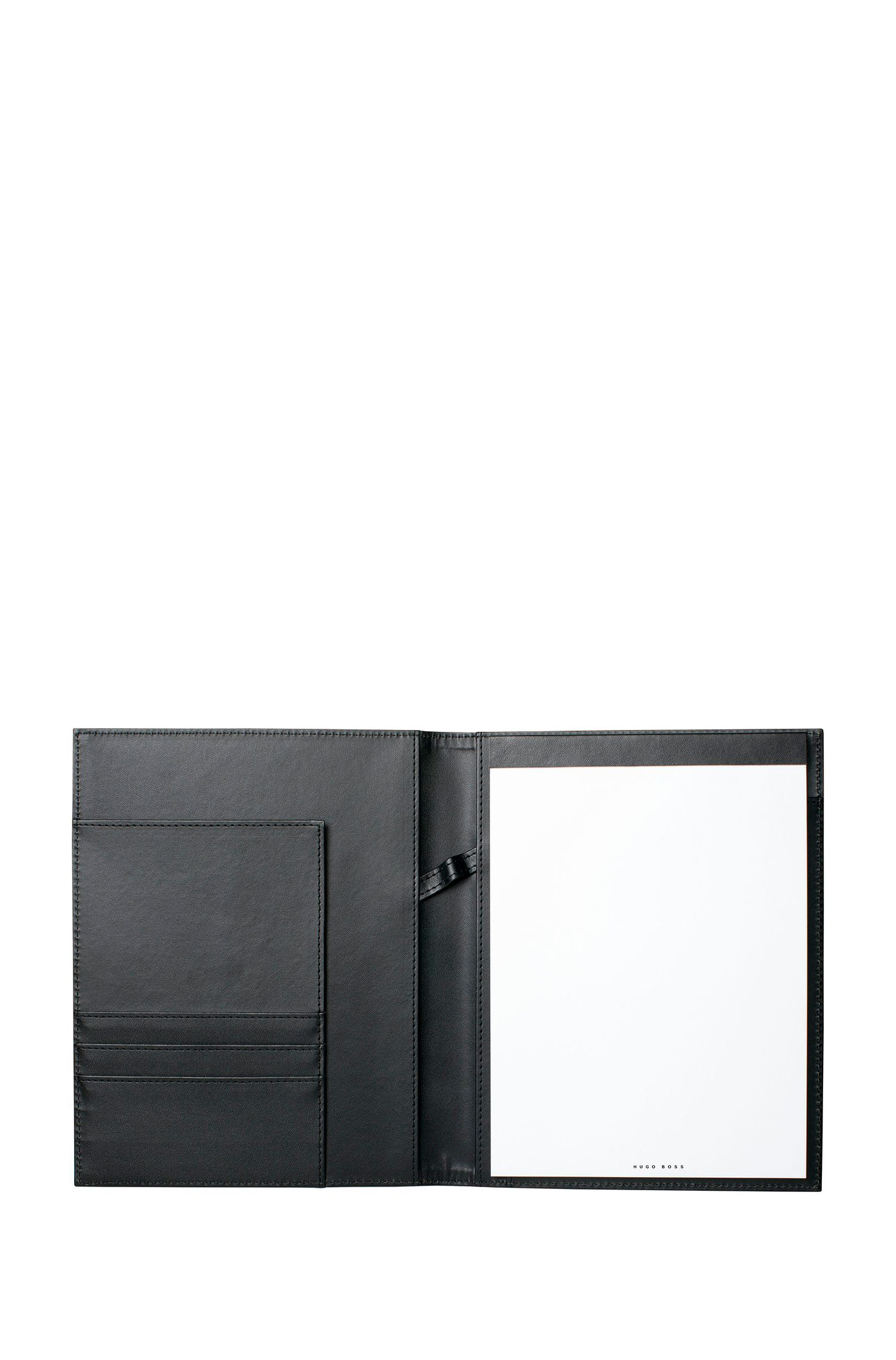 A5 folder in contrasting black faux leather, Black