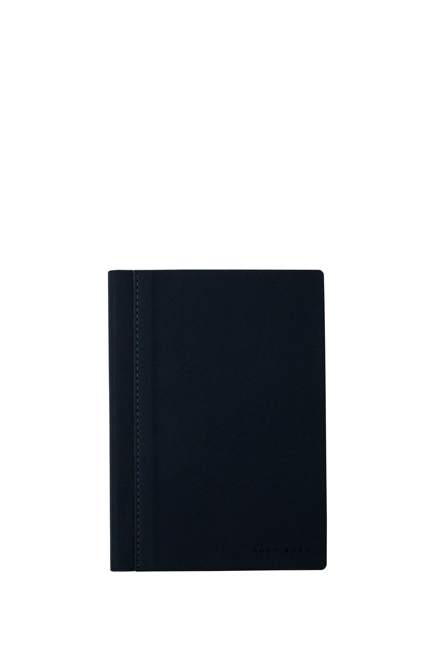 A6 notebook in dark-blue textured fabric, Blue