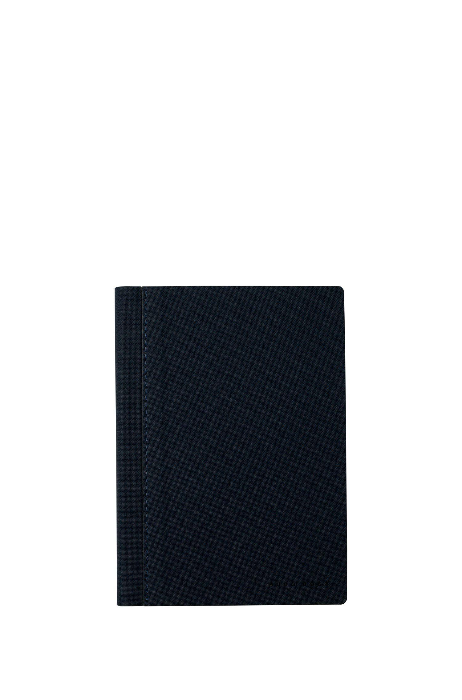 A6 notebook in dark-blue textured fabric