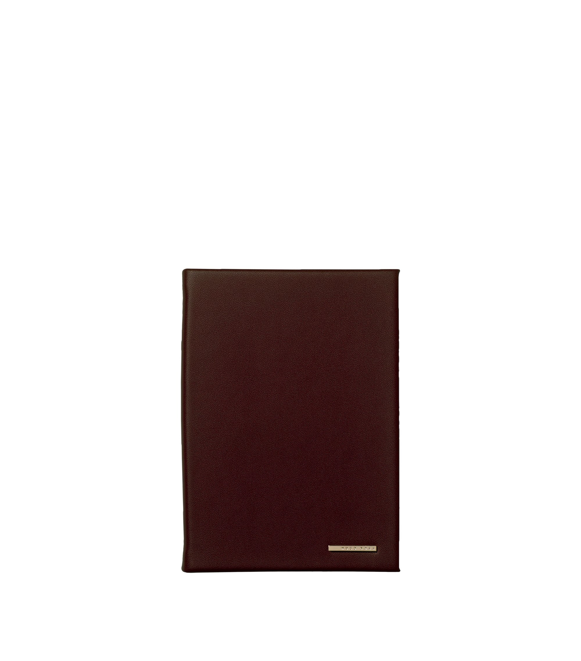 A6 faux-leather notebook in burgundy with logo plate, Dark Red