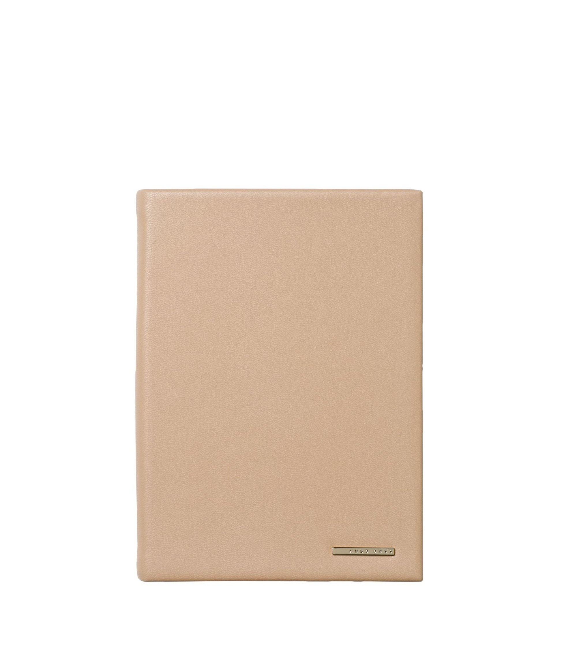 A6 notebook with nude faux-leather case and logo plate, Pink