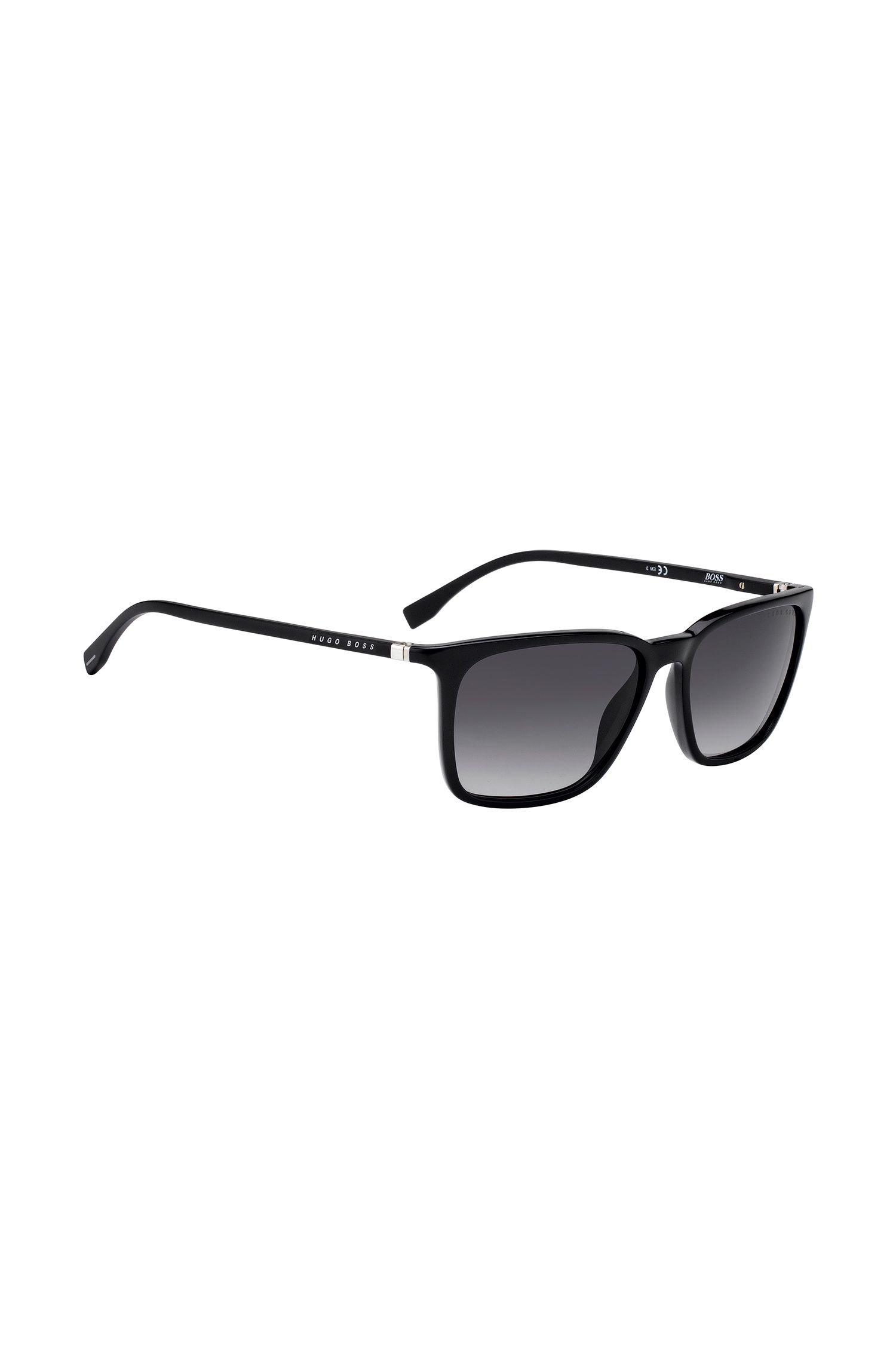 Black optyl sunglasses with integrated flexible hinges, Black