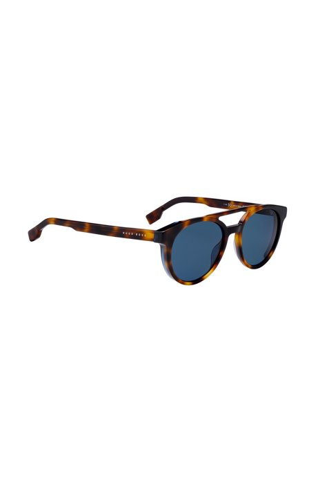 Double-bridge sunglasses with transparent spoilers, Patterned