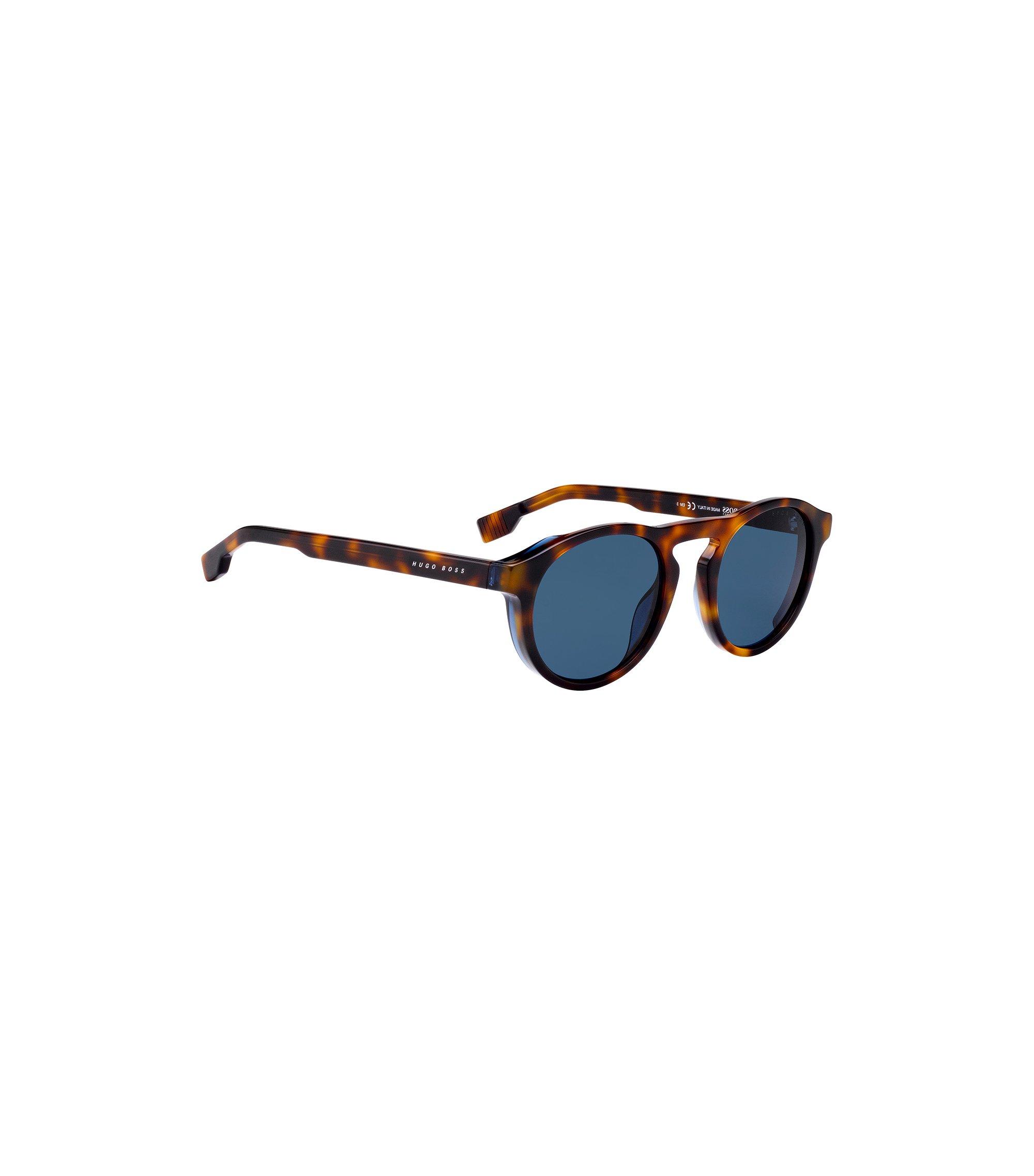 Sonnenbrille mit Schlüssellochsteg und Havanna-Muster, Braun