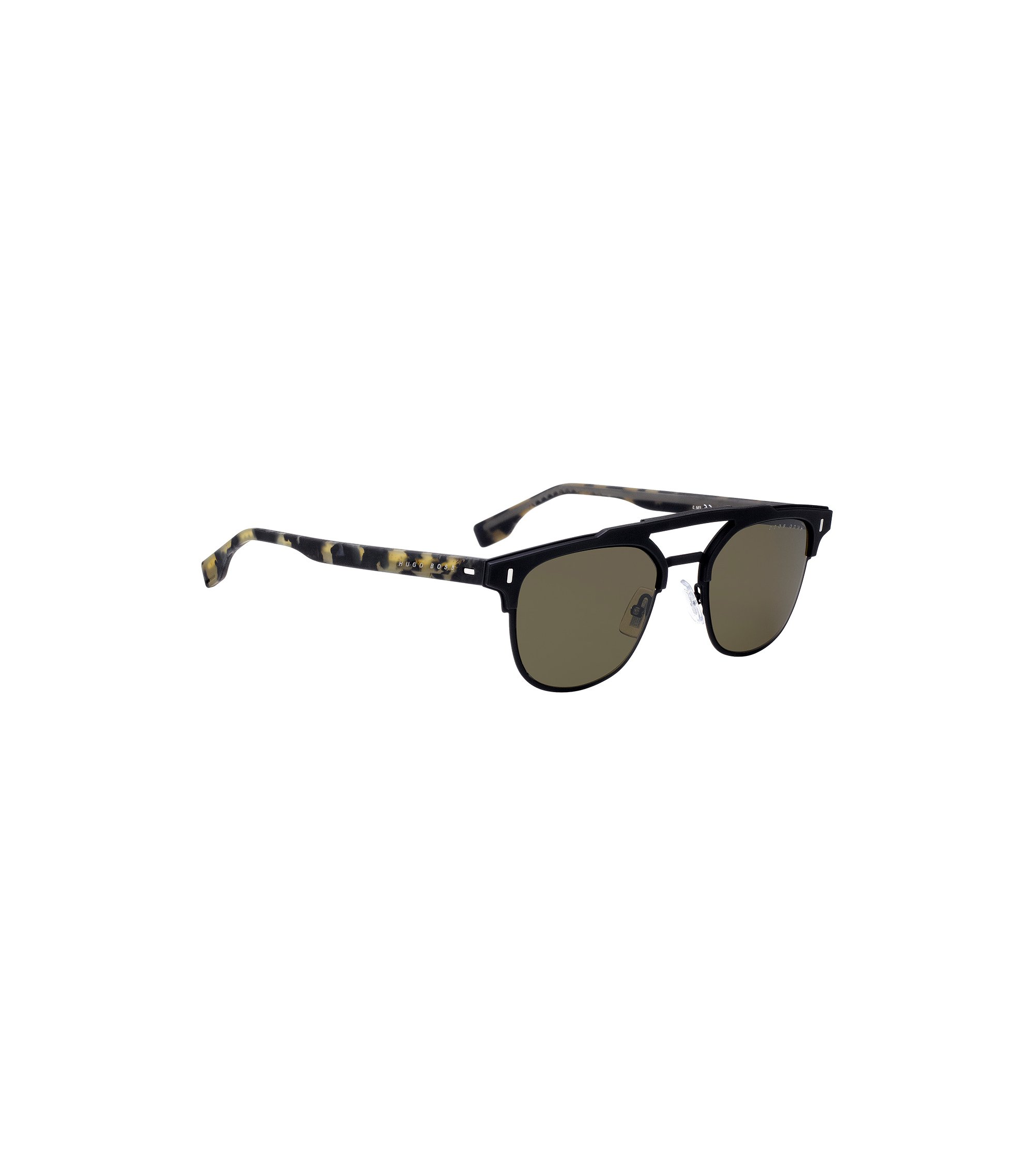 Black double-bridge sunglasses with rubberised Havana temples, Patterned