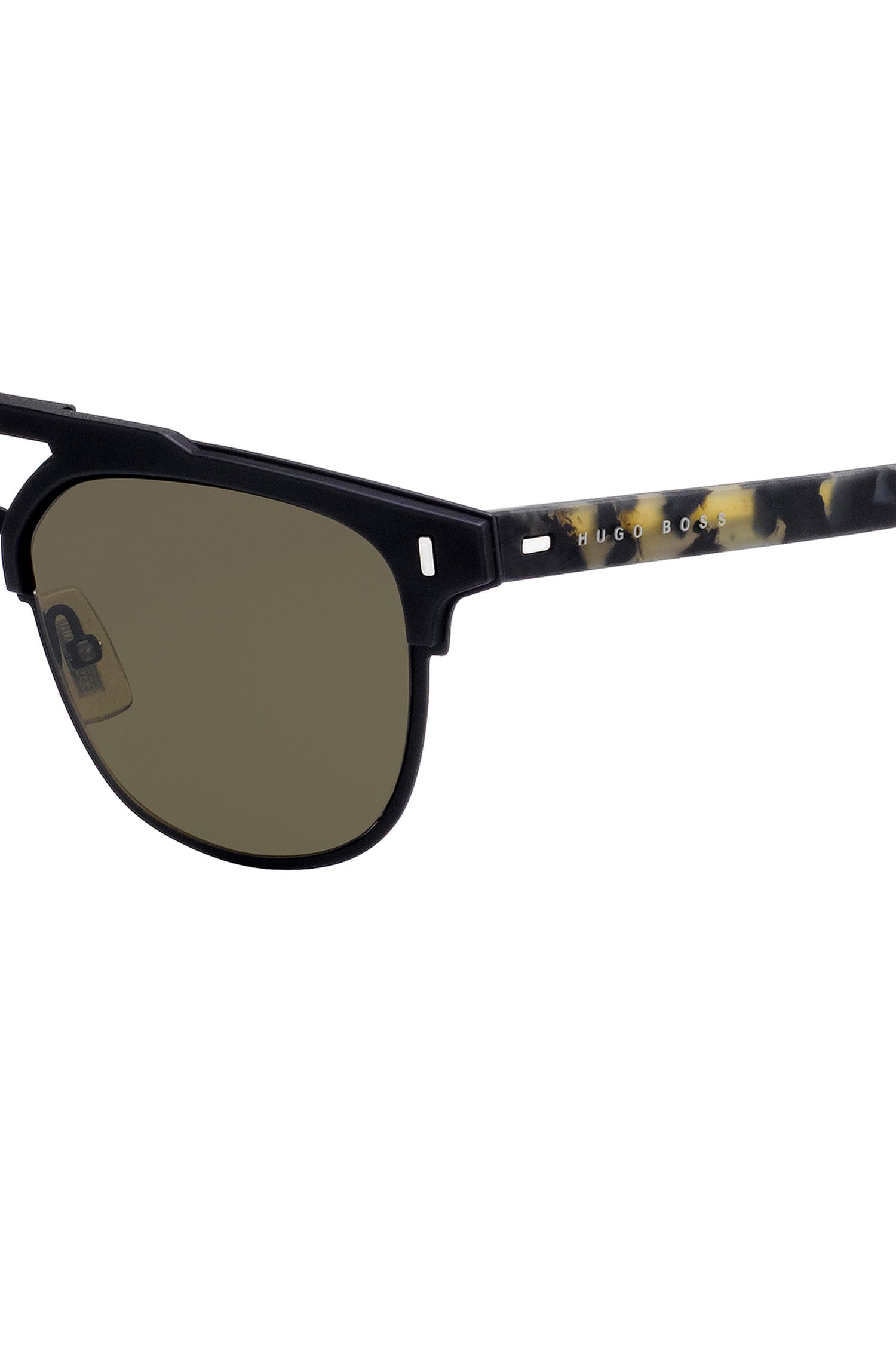 Gafas de sol negras con doble puente y patillas de goma con diseño Habana