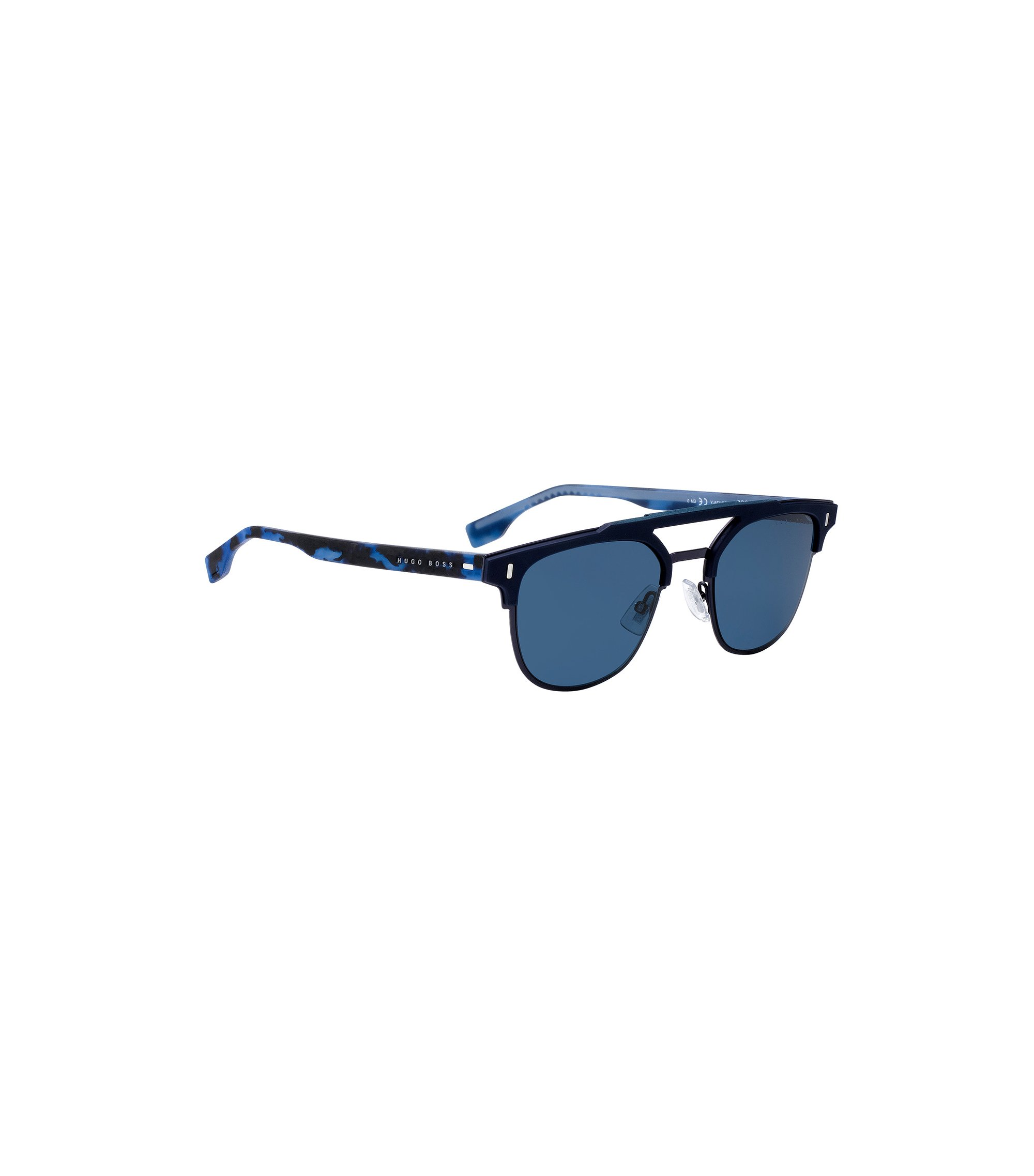 Matt-blue sunglasses with rubberised Havana temples, Blue