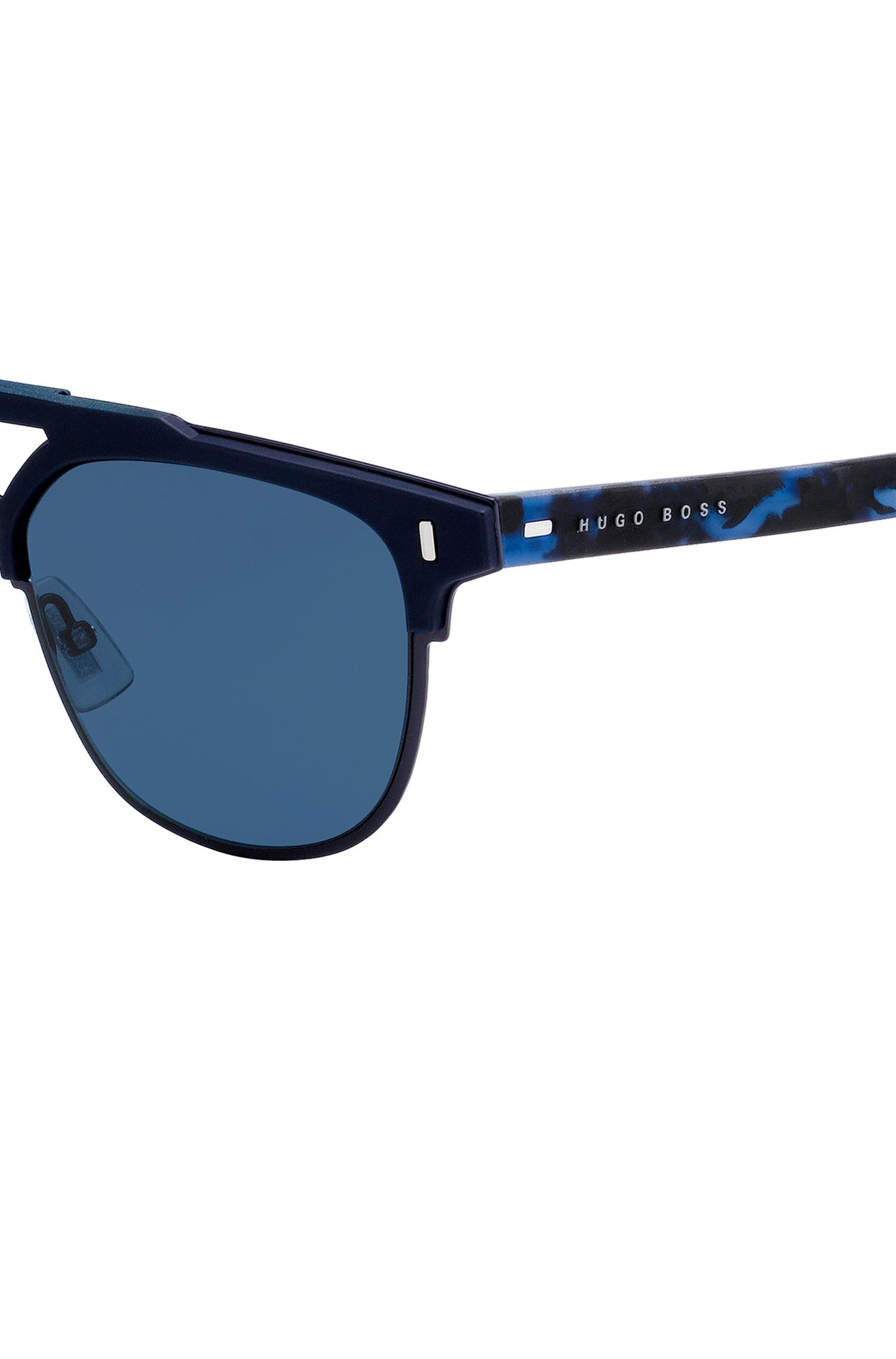 Matt-blue sunglasses with rubberised Havana temples, Blue