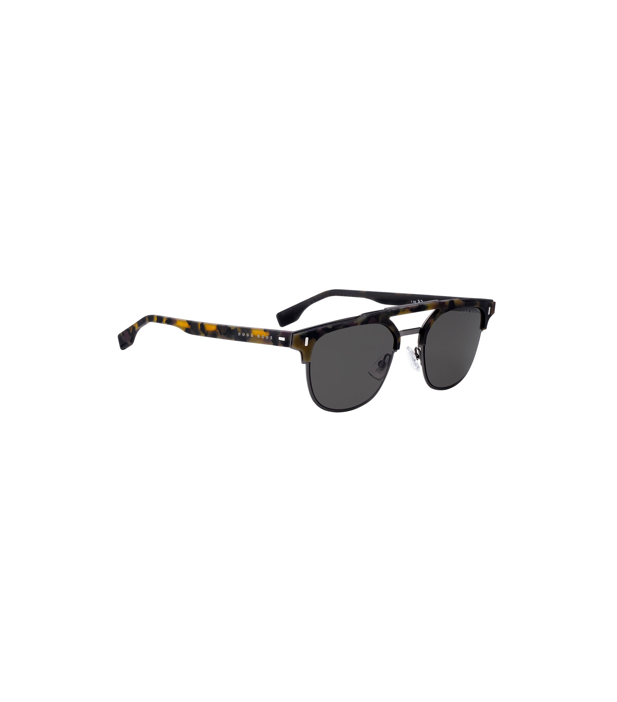 Rubberised-Havana sunglasses with riveted hinges, Patterned